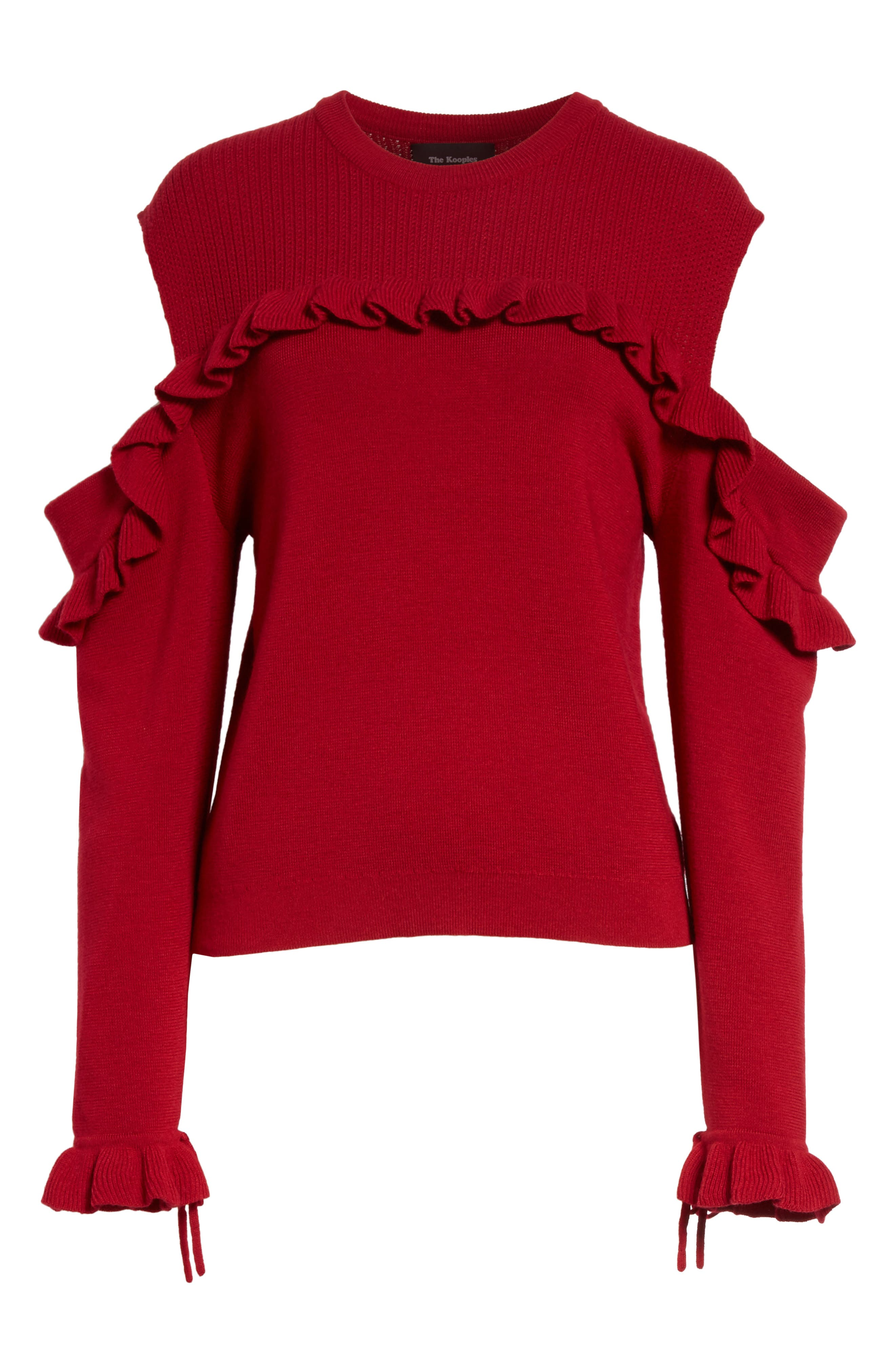 Ruffle Cold Shoulder Merino Wool Sweater,                             Alternate thumbnail 6, color,                             600