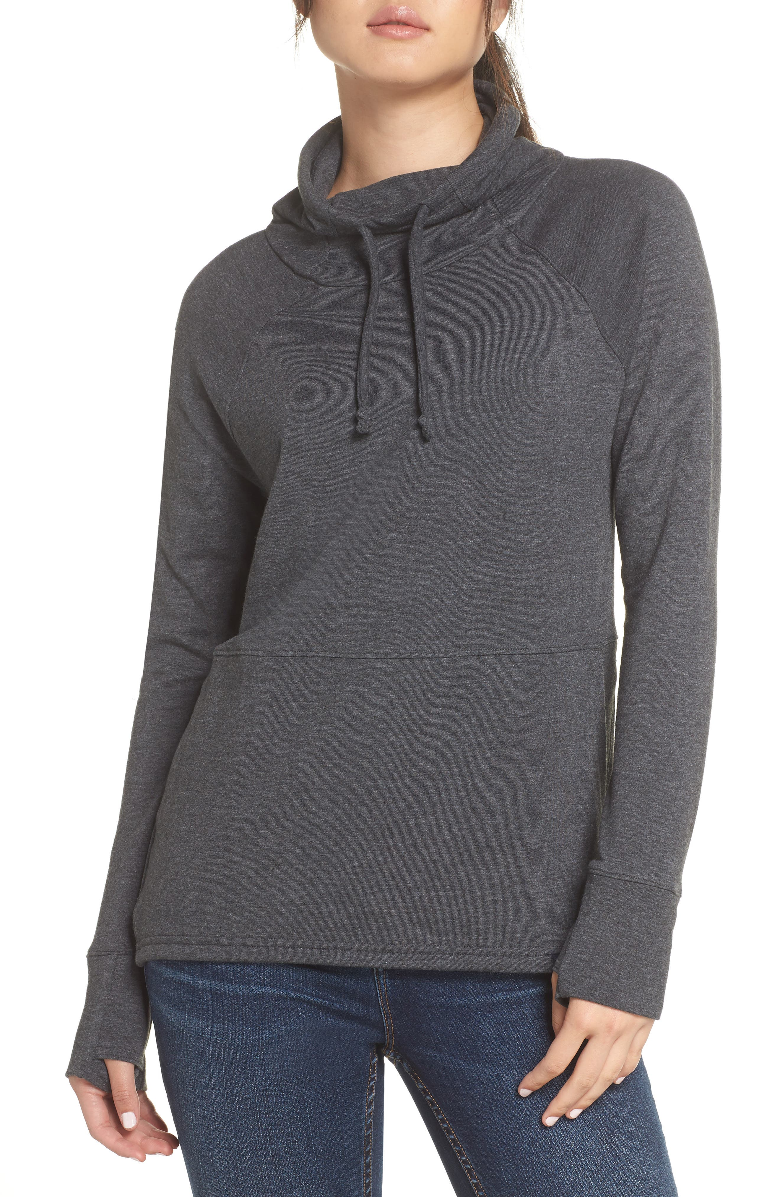 Funnel Neck Sweatshirt,                             Main thumbnail 1, color,                             TNF DARK GREY HEATHER