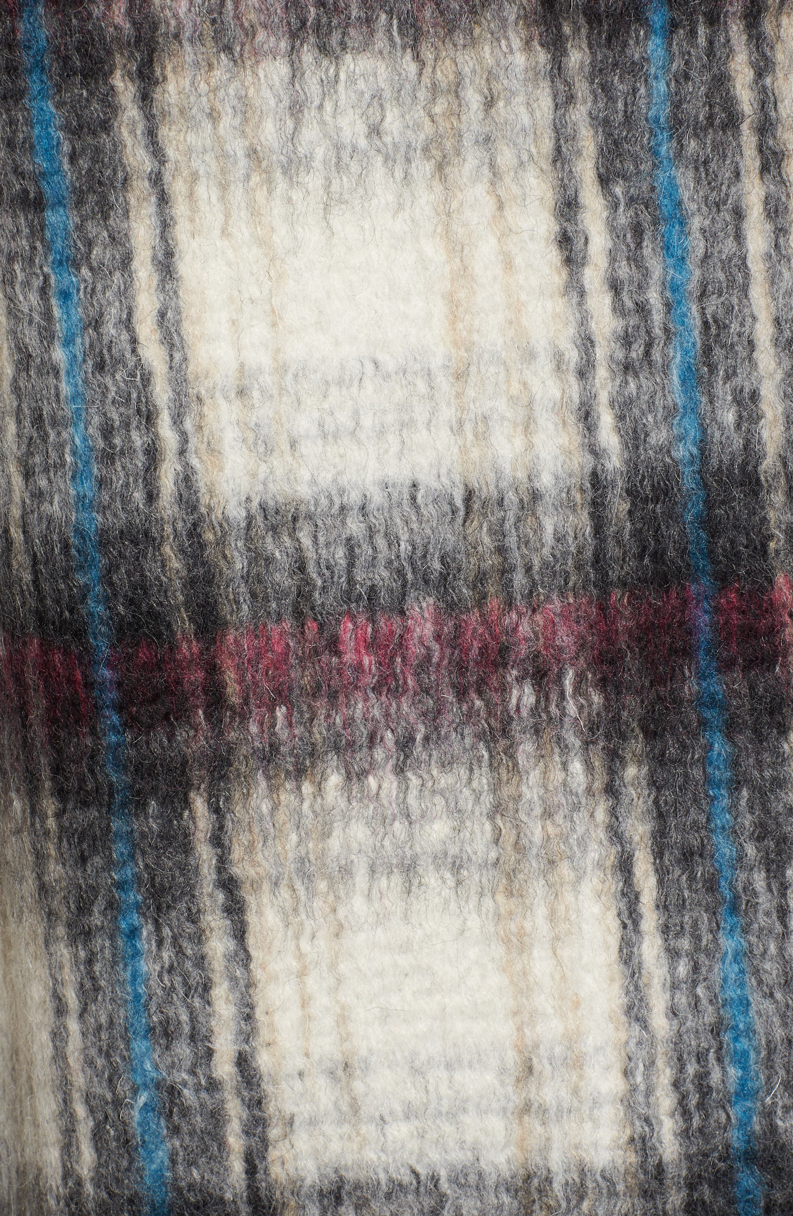 Drop Shoulder Plaid Wool Blend Coat,                             Alternate thumbnail 6, color,                             250