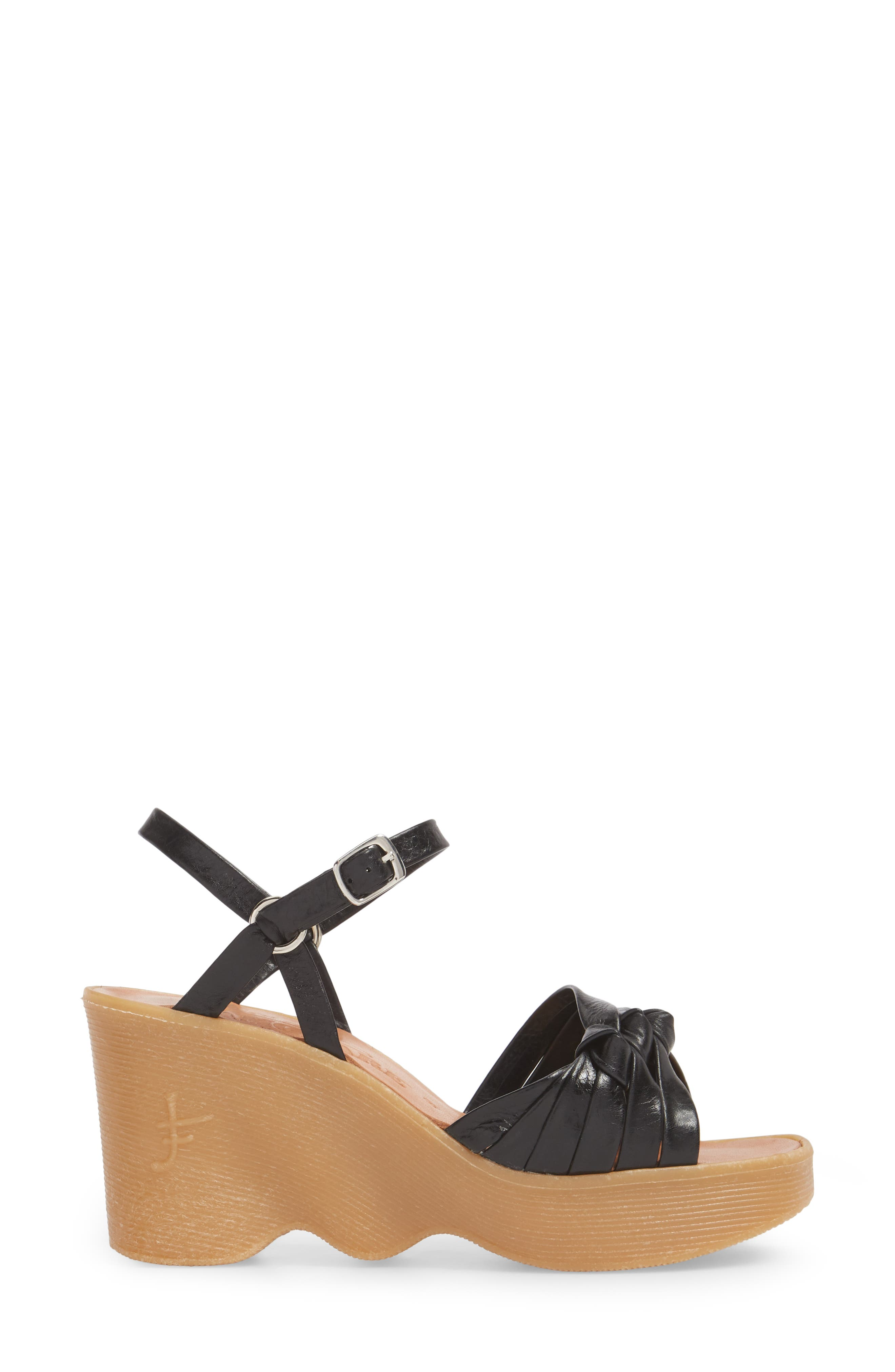 Knot So Fast Wedge Sandal,                             Alternate thumbnail 3, color,                             COAL LEATHER