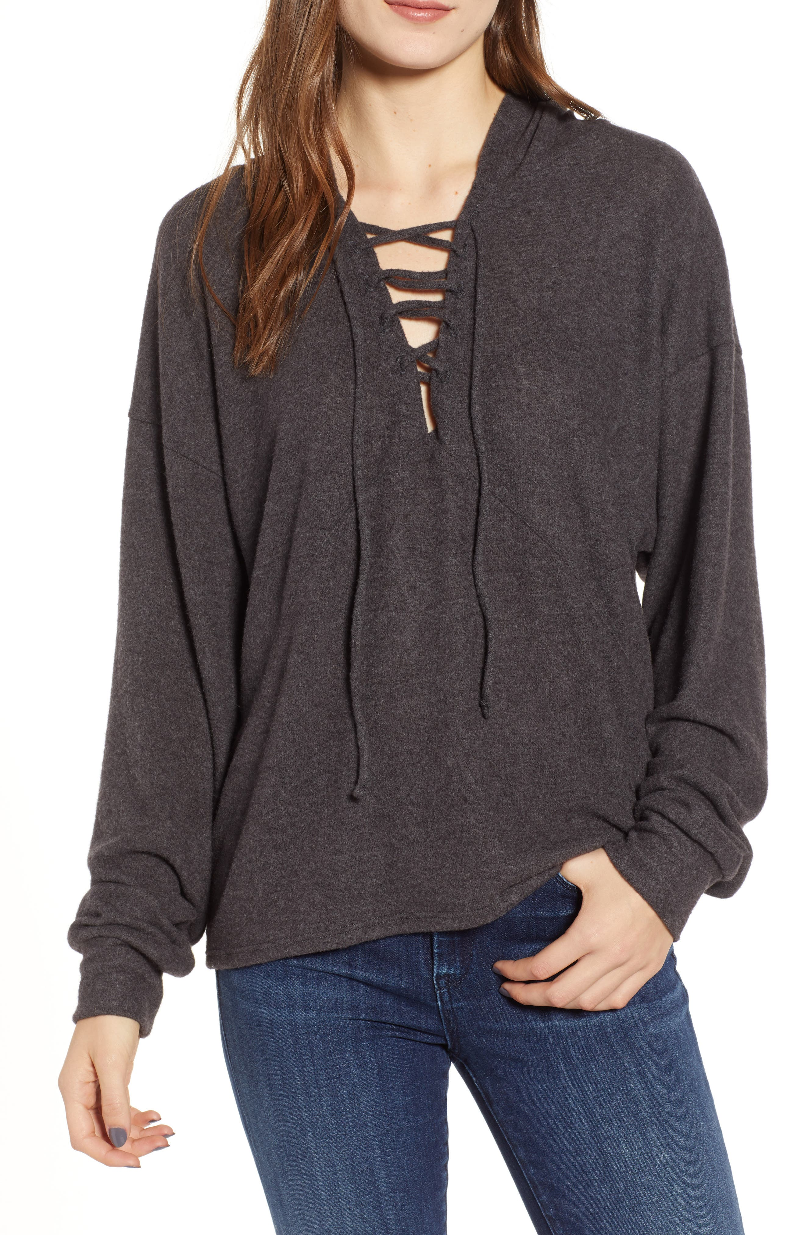 PROJECT SOCIAL T Calhoun Lace-Up Hoodie in Charcoal