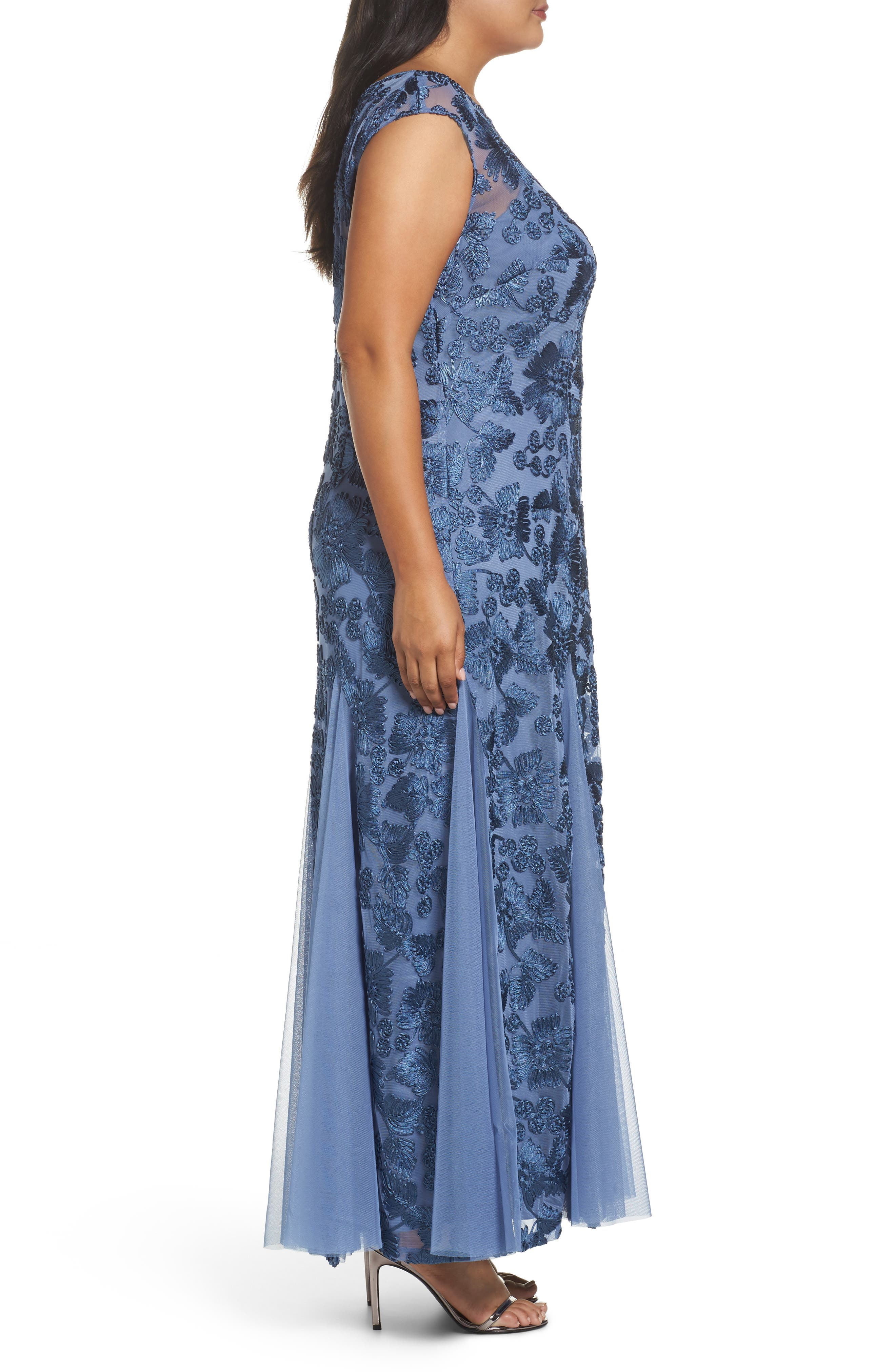 Soutache Stretch Tulle A-Line Gown,                             Alternate thumbnail 3, color,                             496