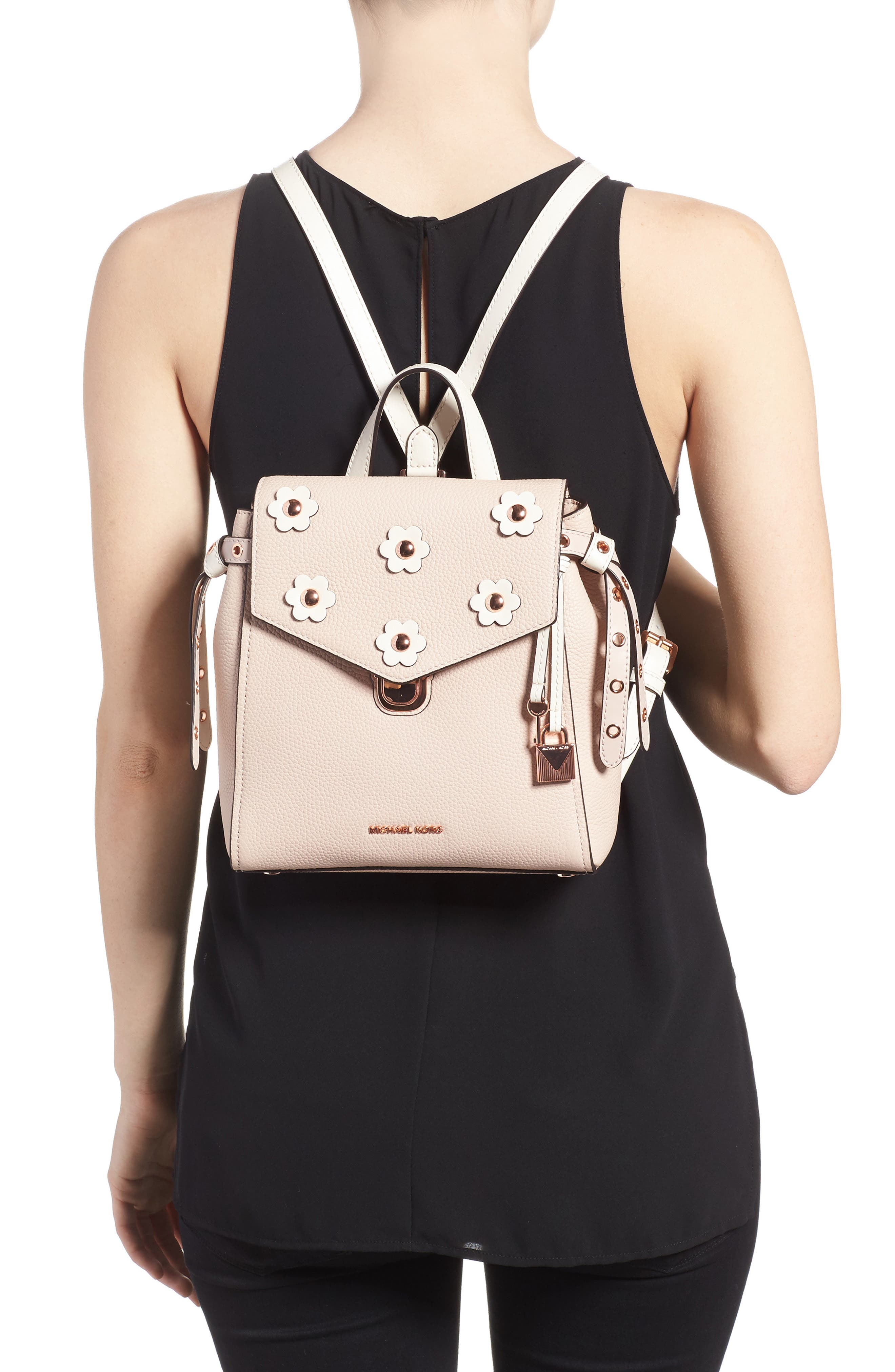 MICHAEL Michael Kors Small Flower Embellished Leather Backpack,                             Alternate thumbnail 4, color,