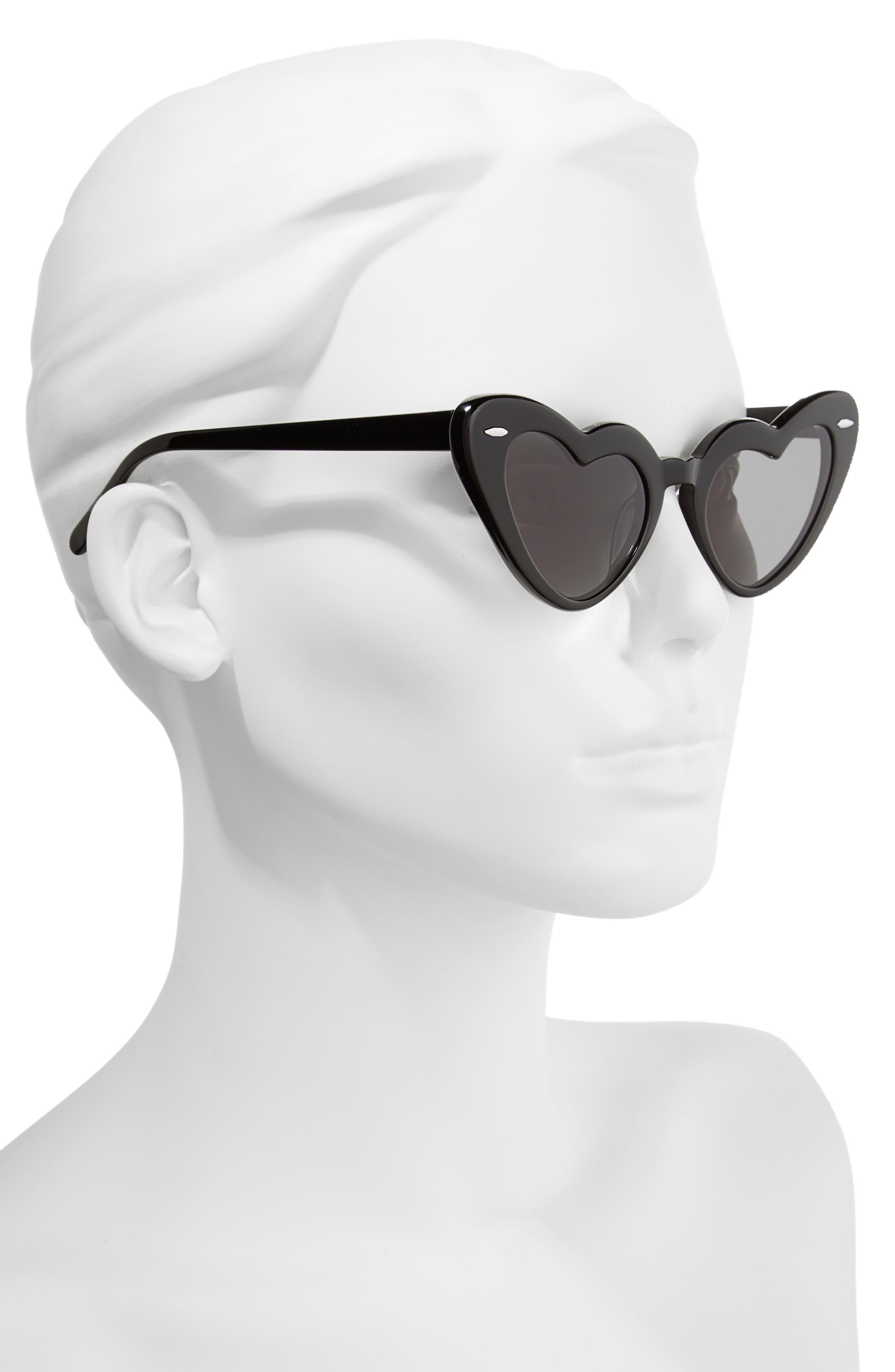 J'adore 46mm Heart Sunglasses,                             Alternate thumbnail 2, color,                             001