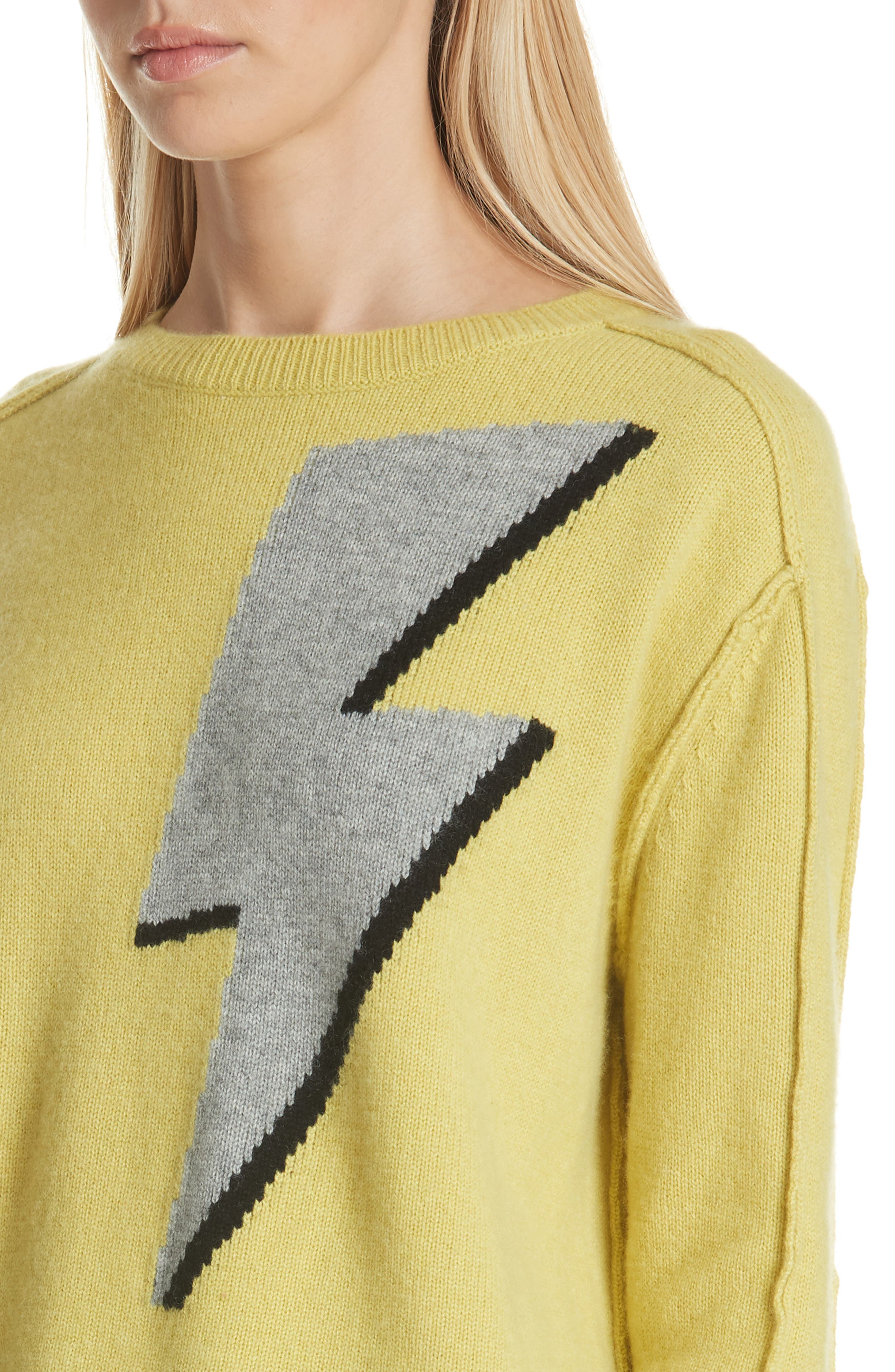 Lightning Bolt Wool & Cashmere Sweater,                             Alternate thumbnail 4, color,                             YELLOW/ GREY