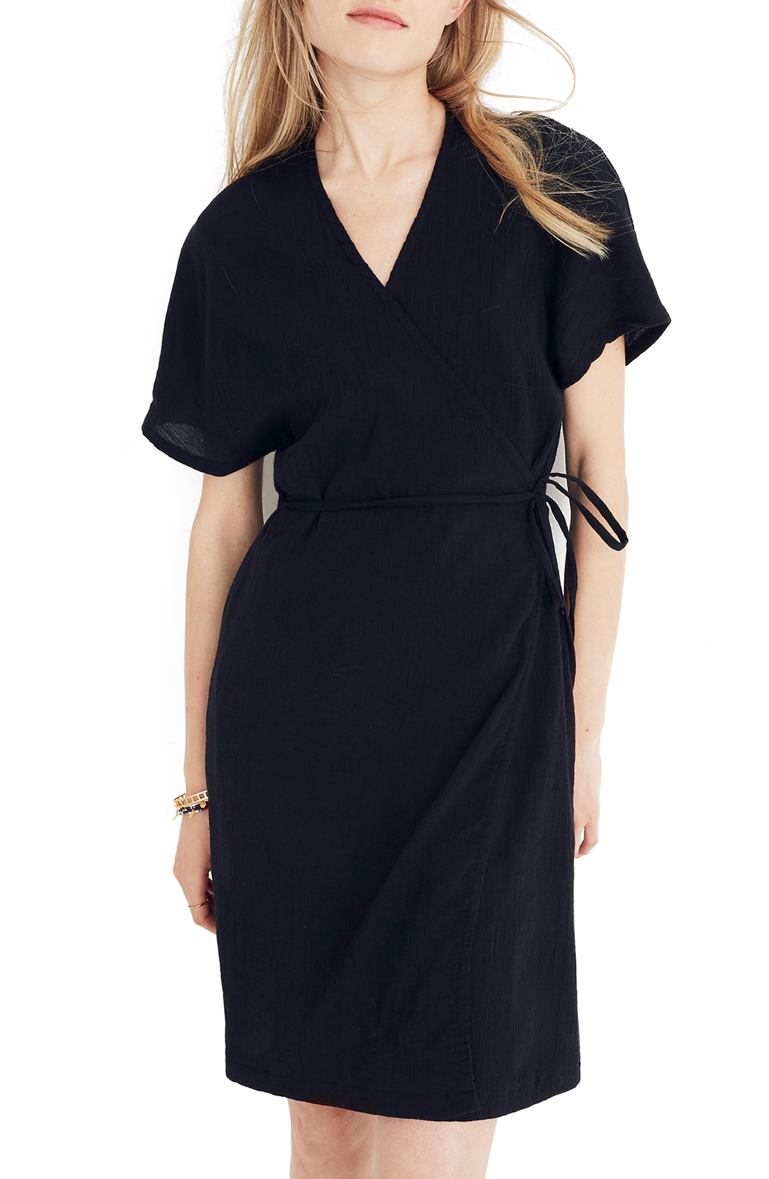 MADEWELL Gauze Wrap Dress, Main, color, 001