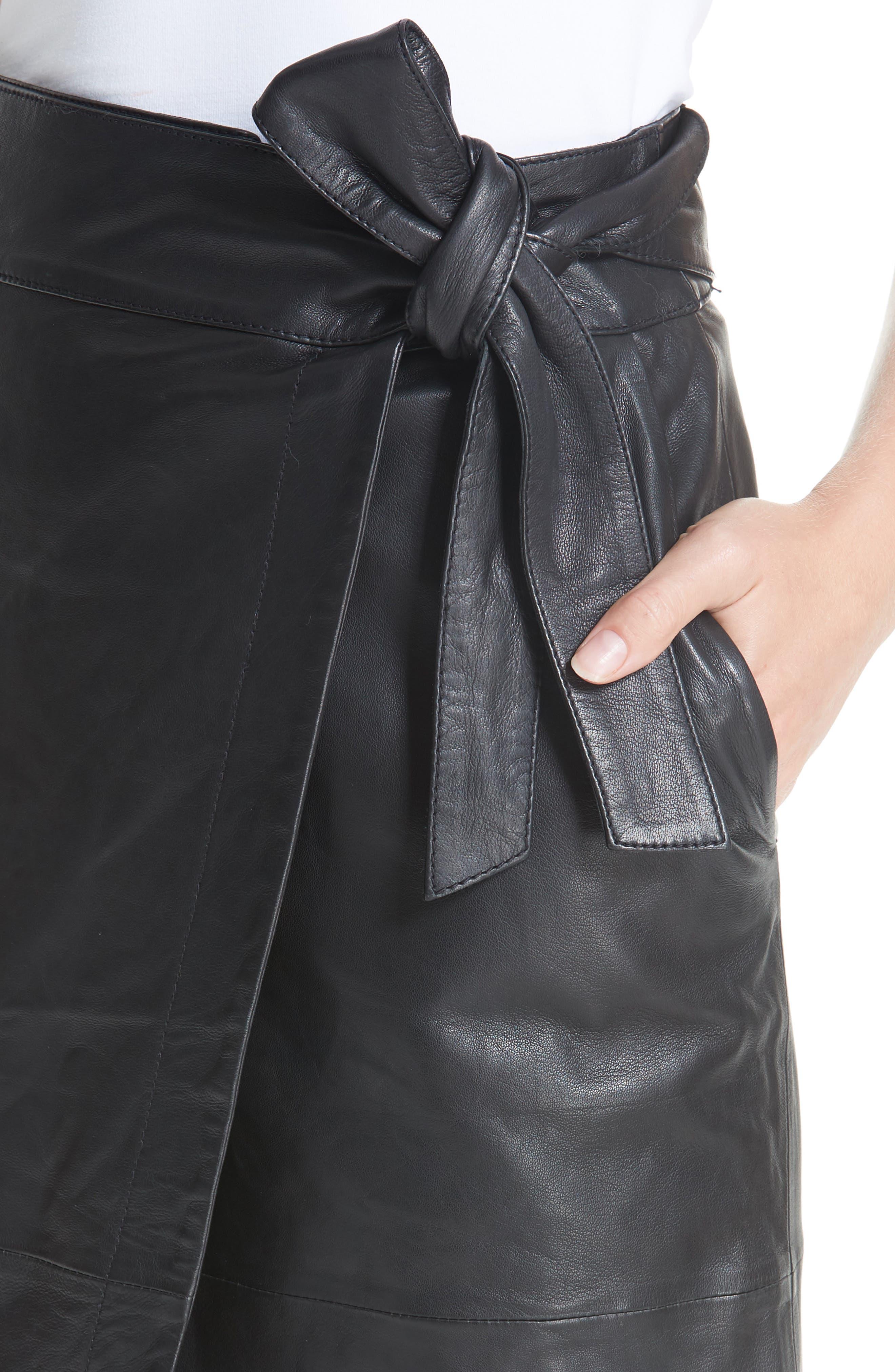 Magic Wrap Leather Skirt,                             Alternate thumbnail 4, color,                             BLACK