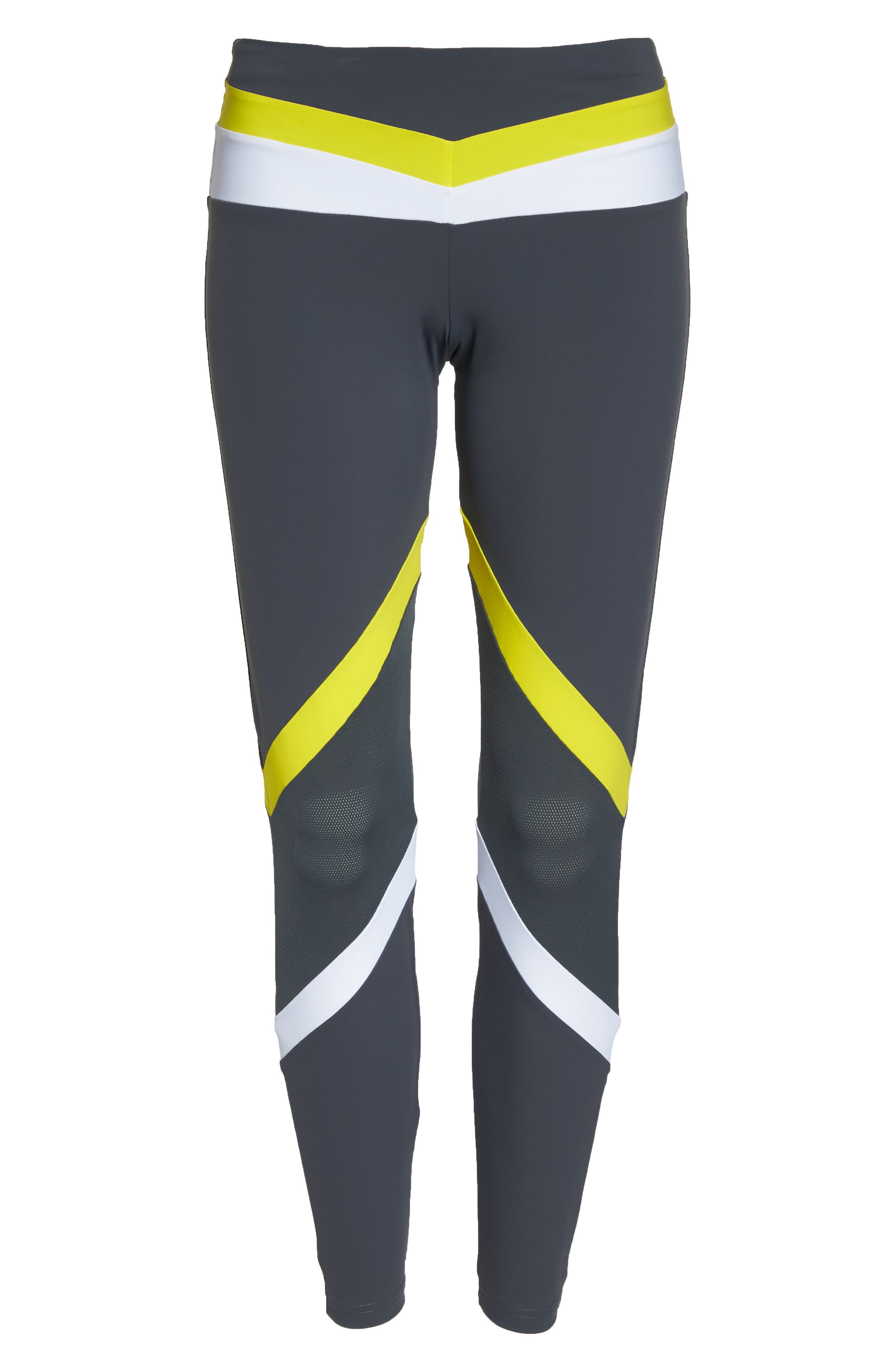 BoomBoom Athletica Tricolor Leggings,                             Alternate thumbnail 7, color,                             GREY/ WHITE/ YELLOW