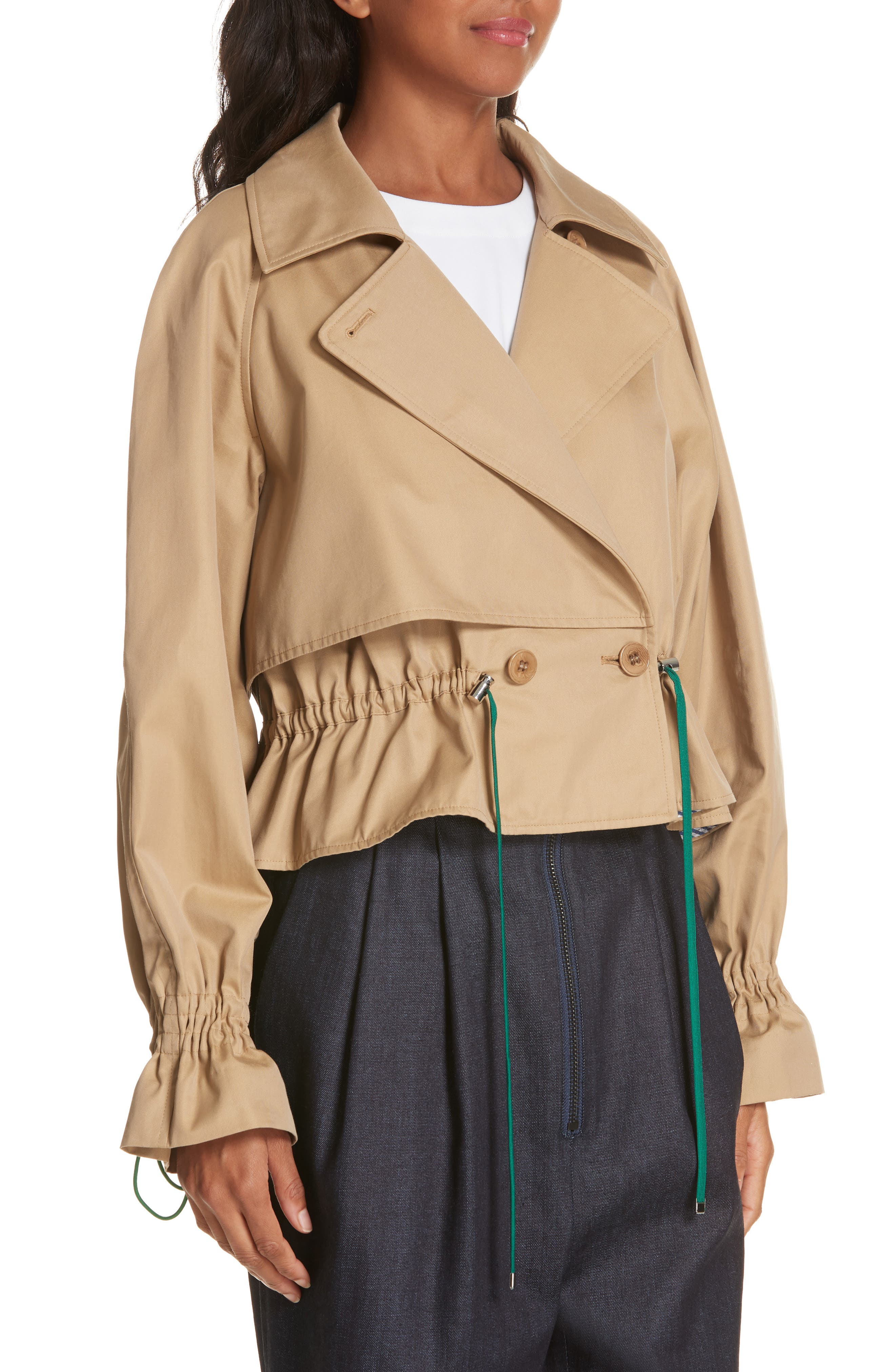 Finn Water Resistant Twill Crop Trench Coat,                             Alternate thumbnail 4, color,                             250