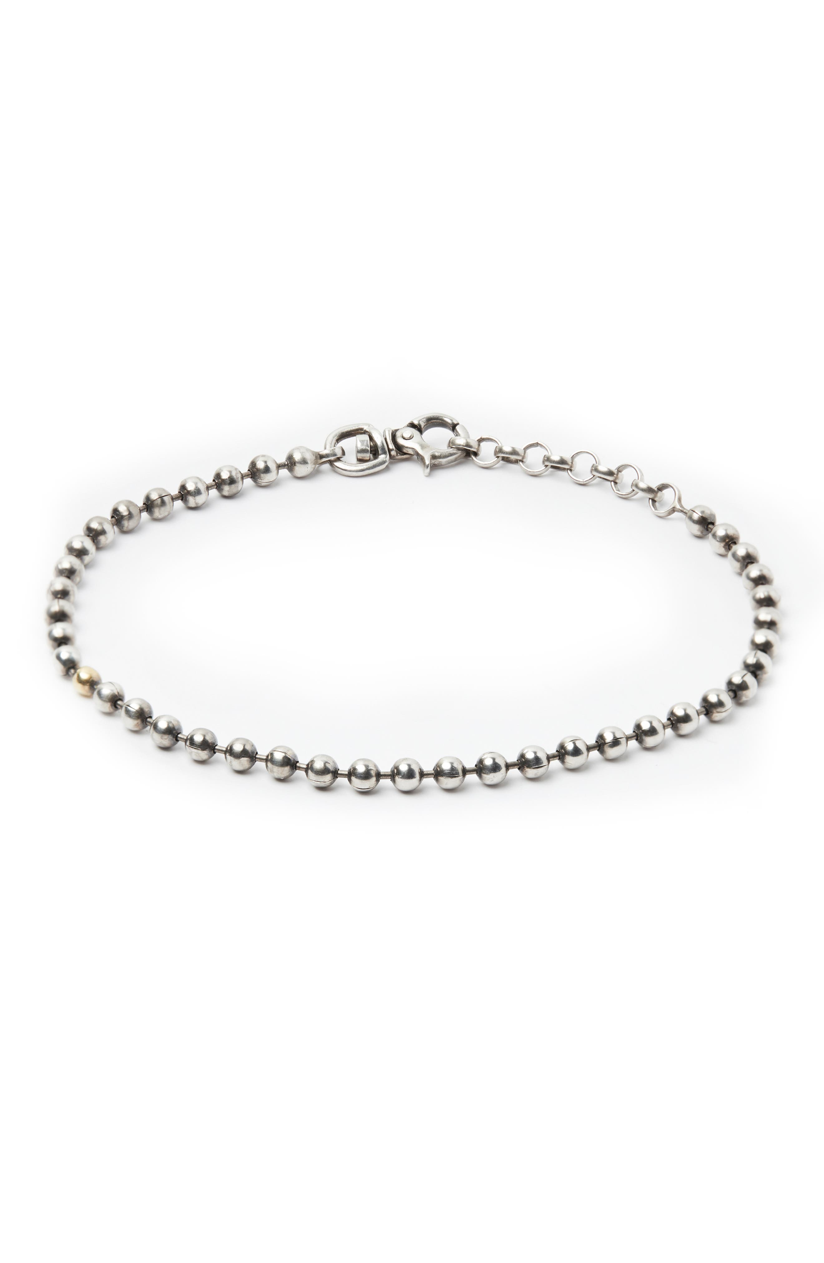 Sterling Silver Ball Chain Bracelet,                             Main thumbnail 1, color,                             SILVER/ GOLD