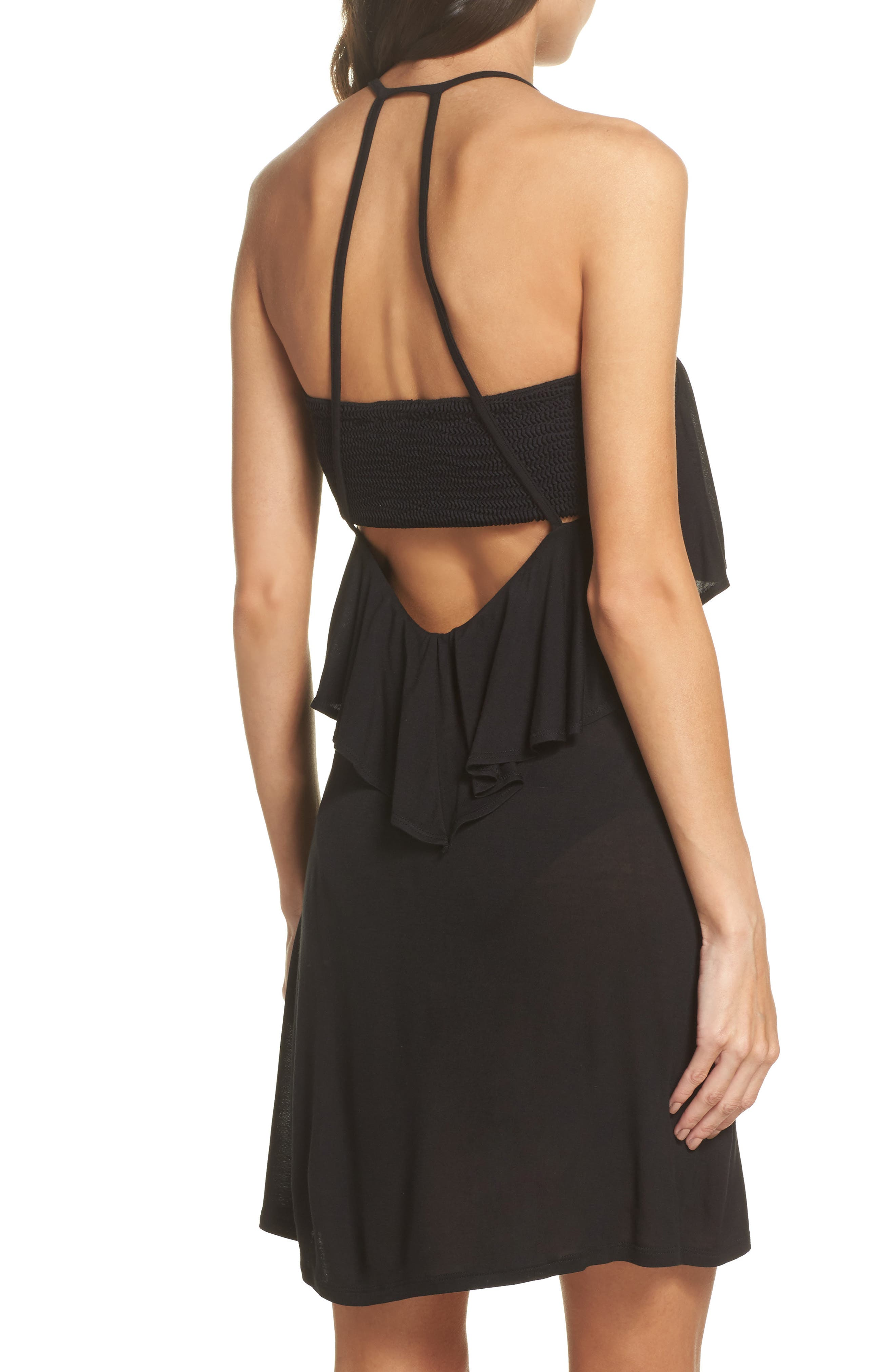 Ruffle Cover-Up Dress,                             Alternate thumbnail 2, color,                             BLACK
