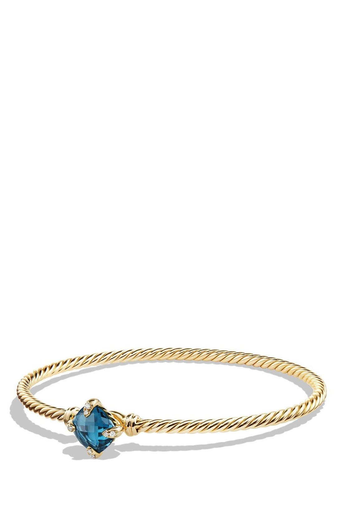 'Châtelaine' Bracelet in 18K Gold with Diamonds,                             Main thumbnail 1, color,                             HAMPTON BLUE TOPAZ