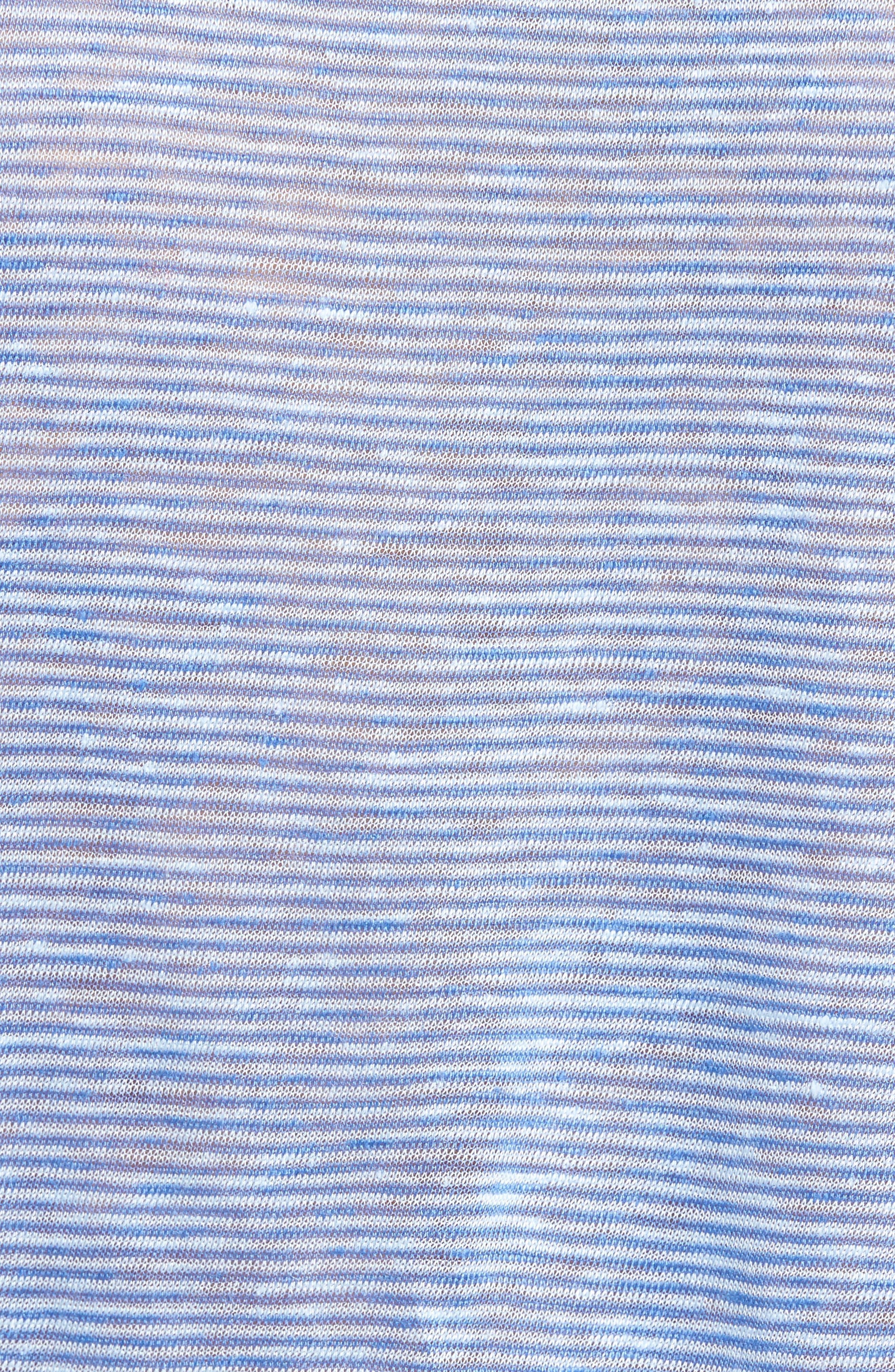 Carpel Stripe Linen Knit Henley,                             Alternate thumbnail 5, color,                             431