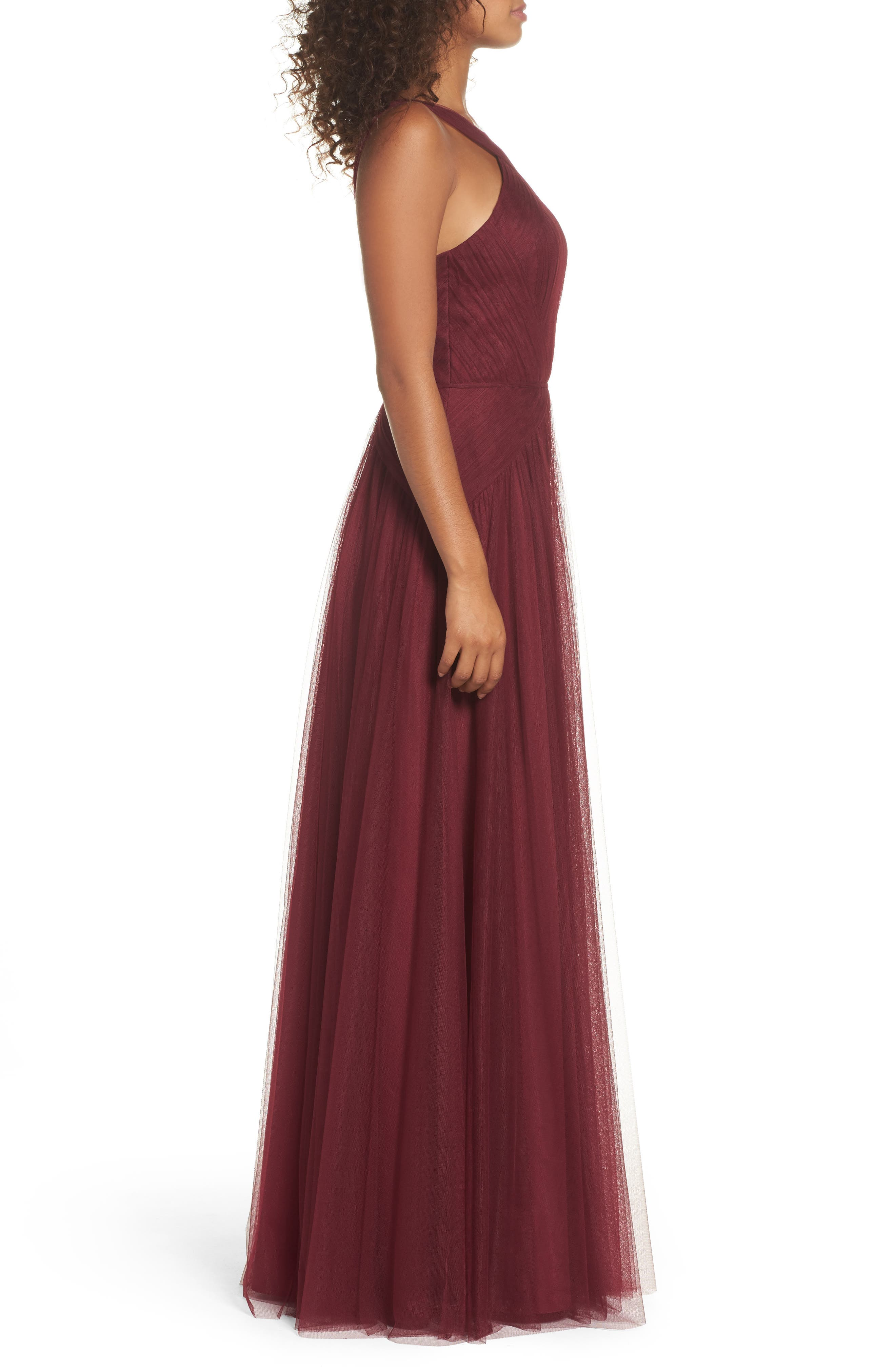 High Neck Pleated English Net Gown,                             Alternate thumbnail 3, color,                             930
