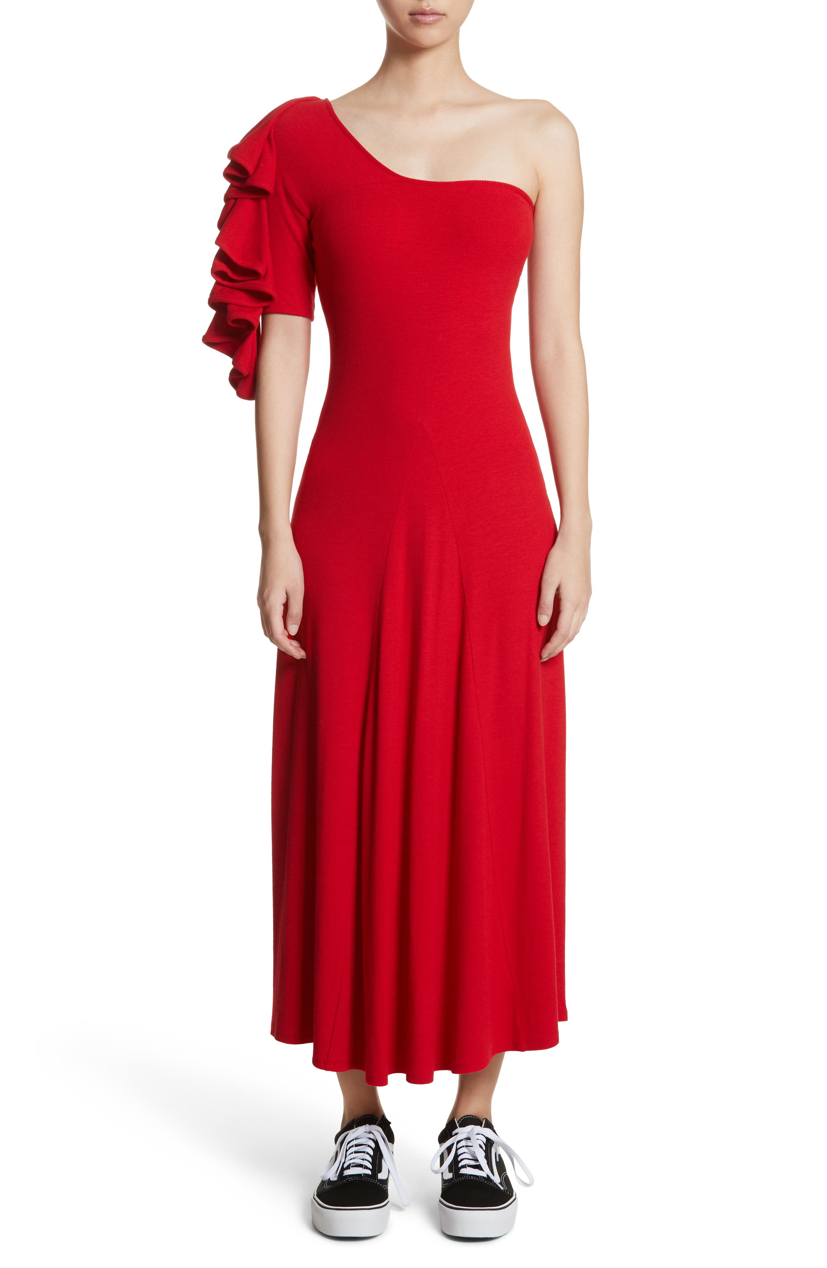 Dione One-Shoulder Dress,                             Alternate thumbnail 5, color,