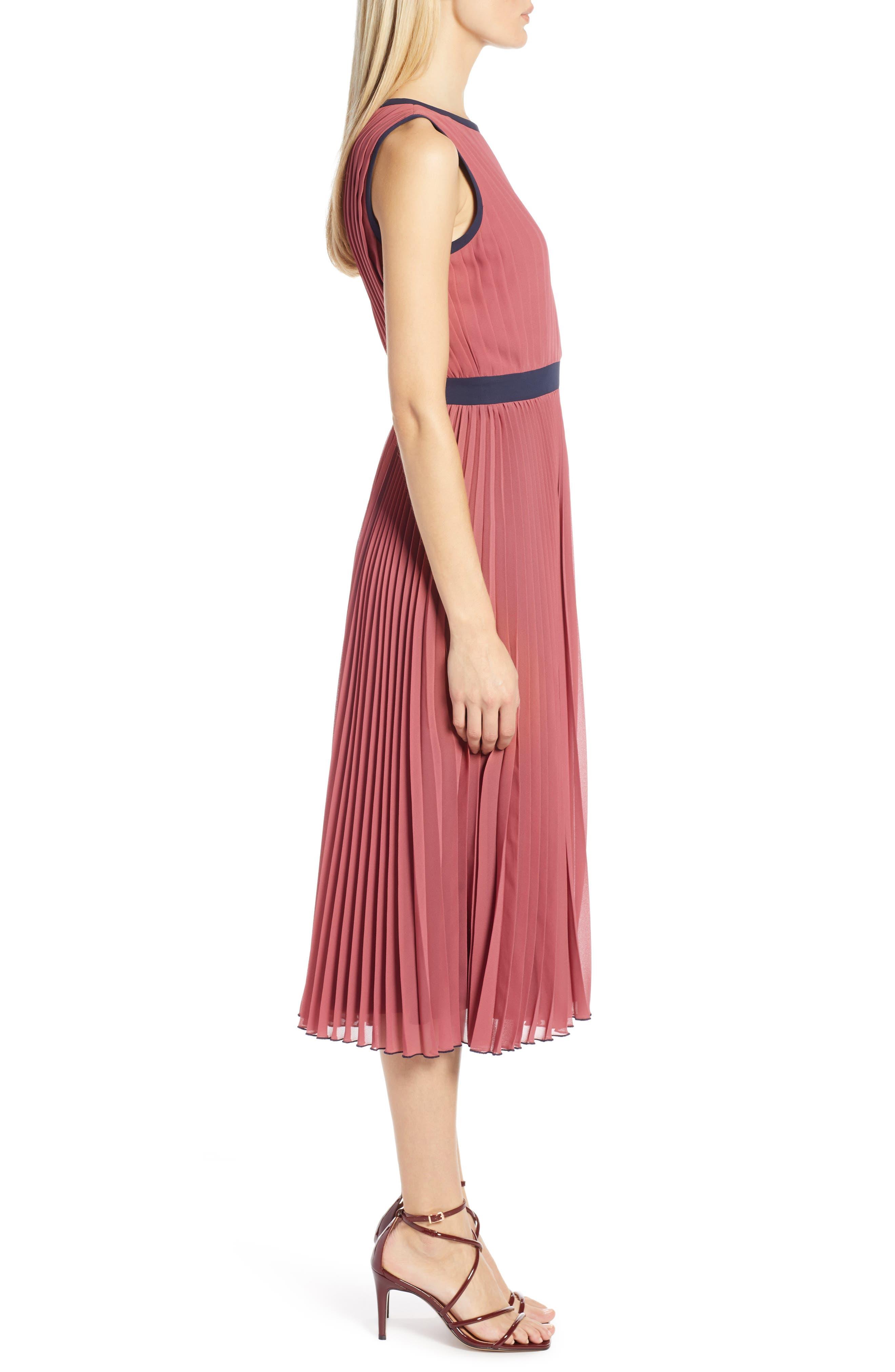 x Atlantic-Pacific Colorblock Pleated Midi Dress,                             Alternate thumbnail 3, color,                             PINK- NAVY COLORBLOCK
