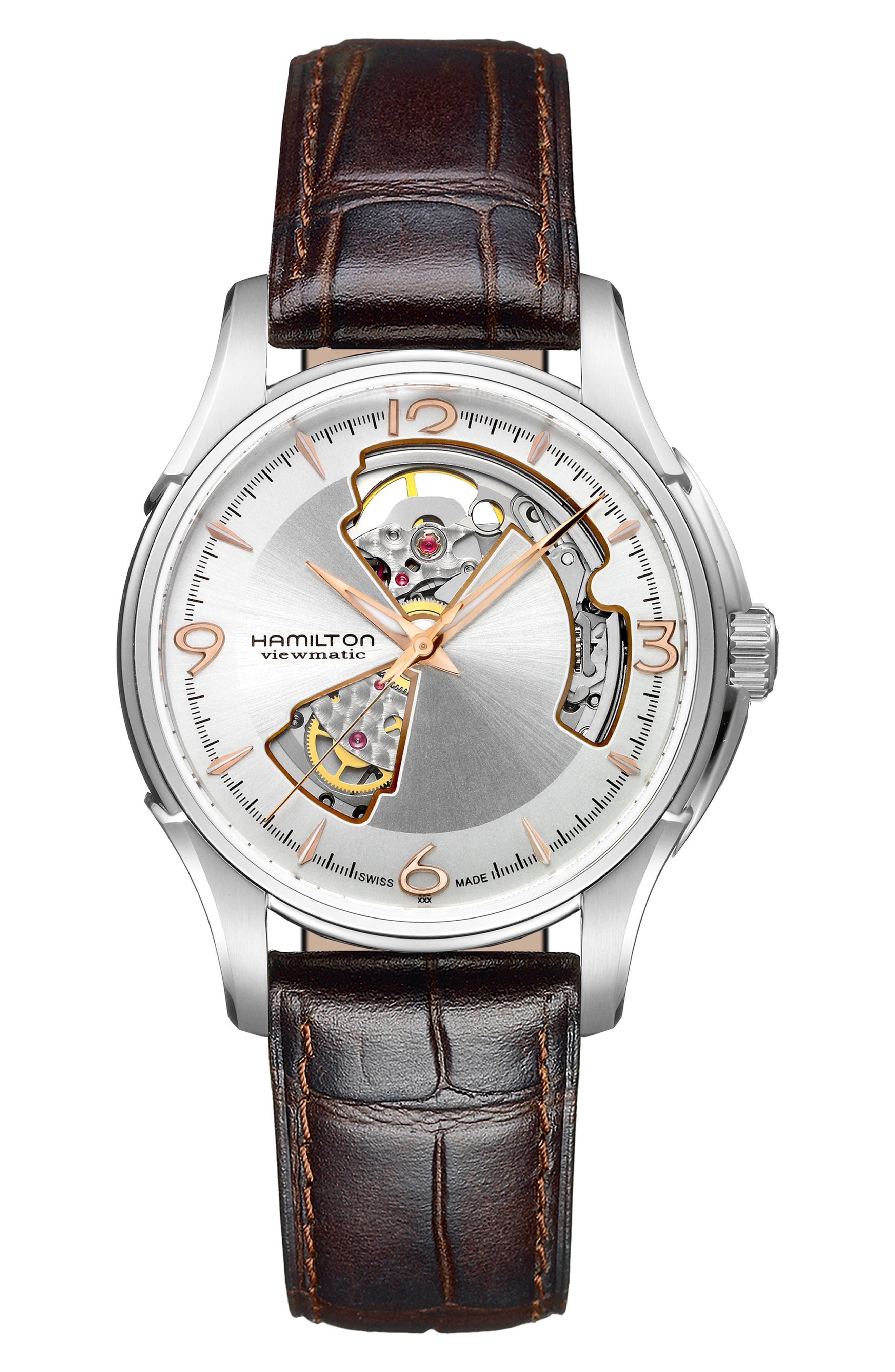 Jazzmaster Open Heart Automatic Leather Strap Watch, 40mm,                             Main thumbnail 1, color,                             BROWN/ SILVER
