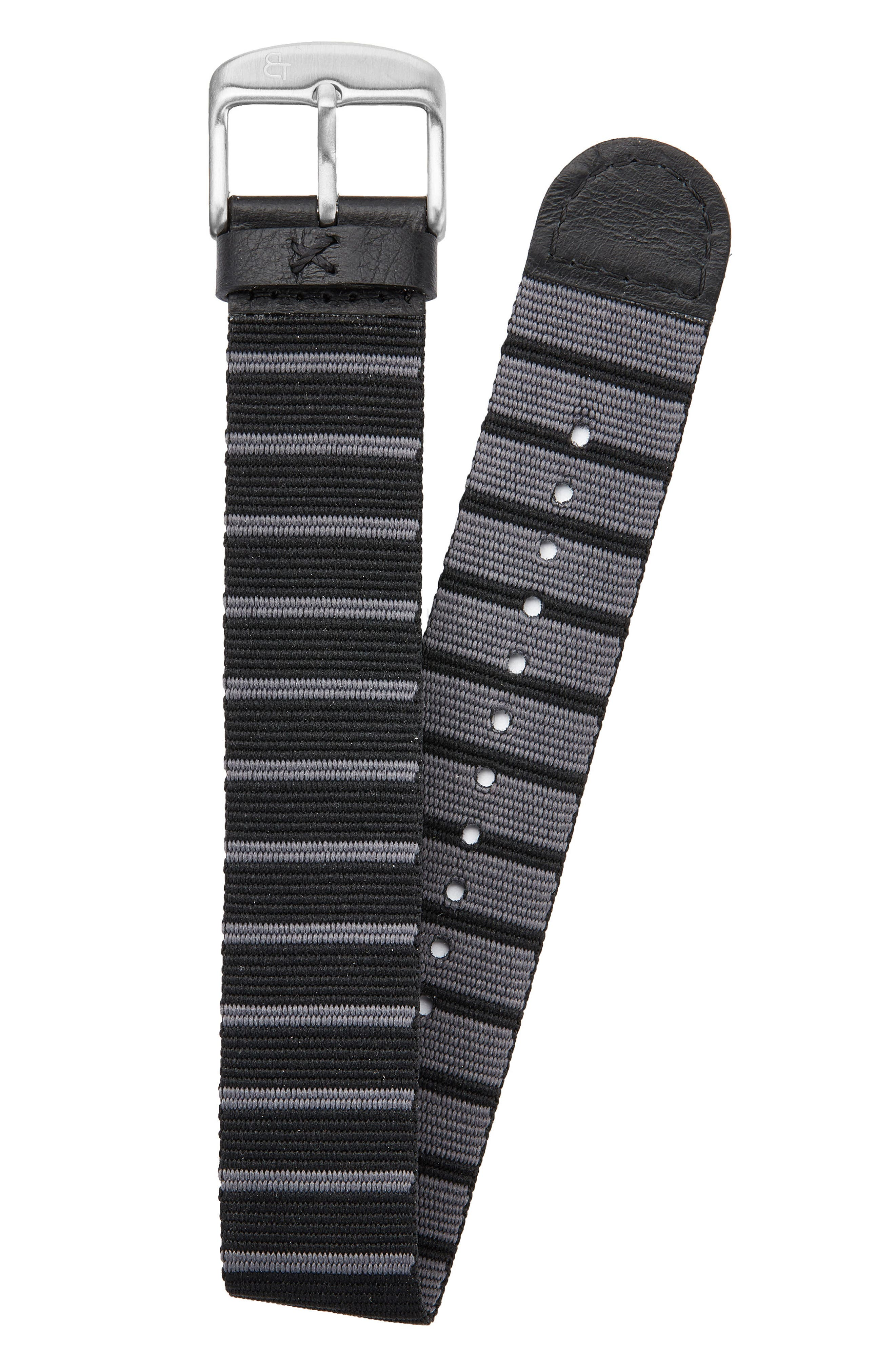 CANTON AND HALL Nylon Watch Strap, 20mm, Main, color, 001