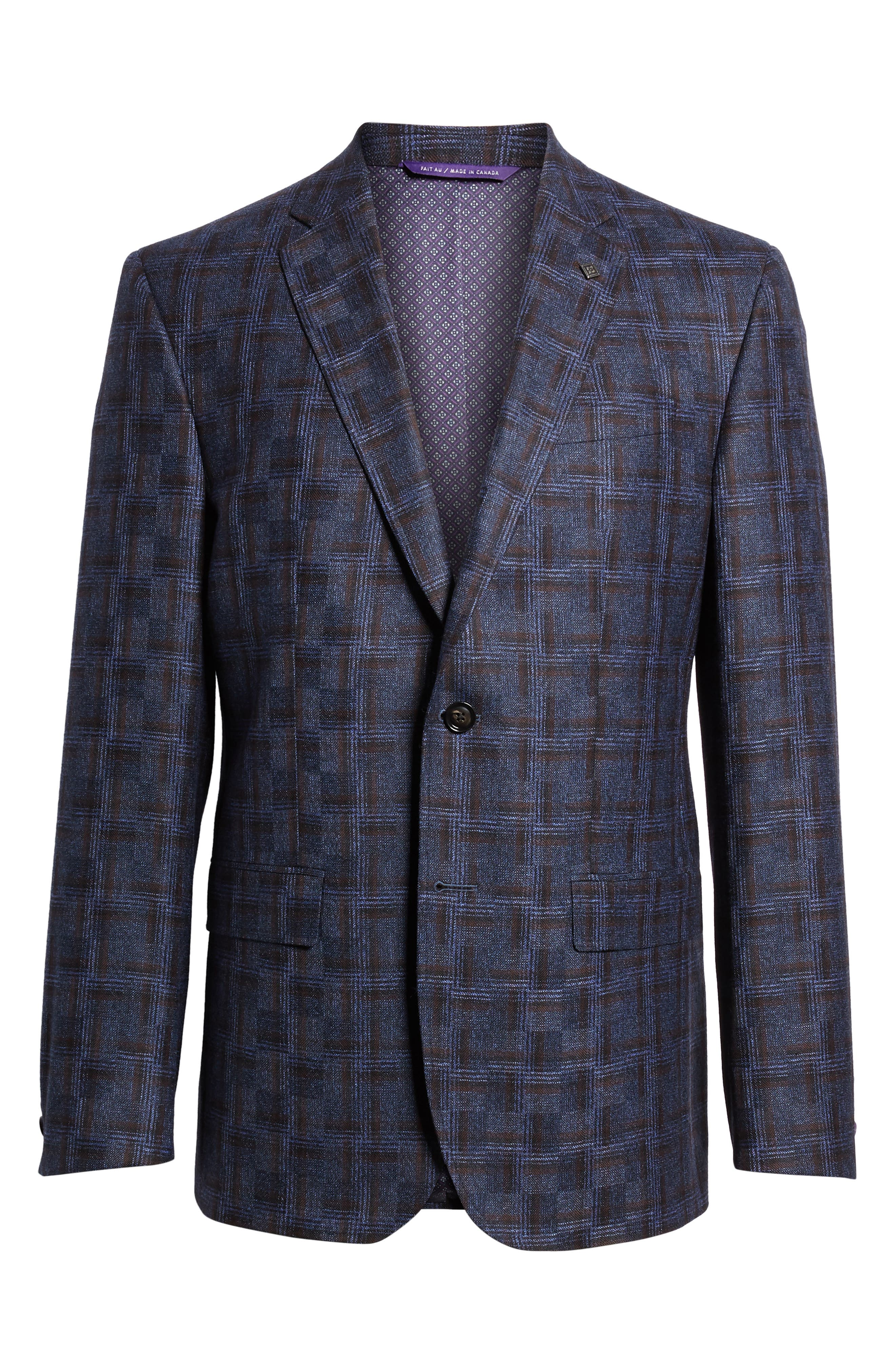Jay Trim Fit Plaid Wool Sport Coat,                             Alternate thumbnail 5, color,