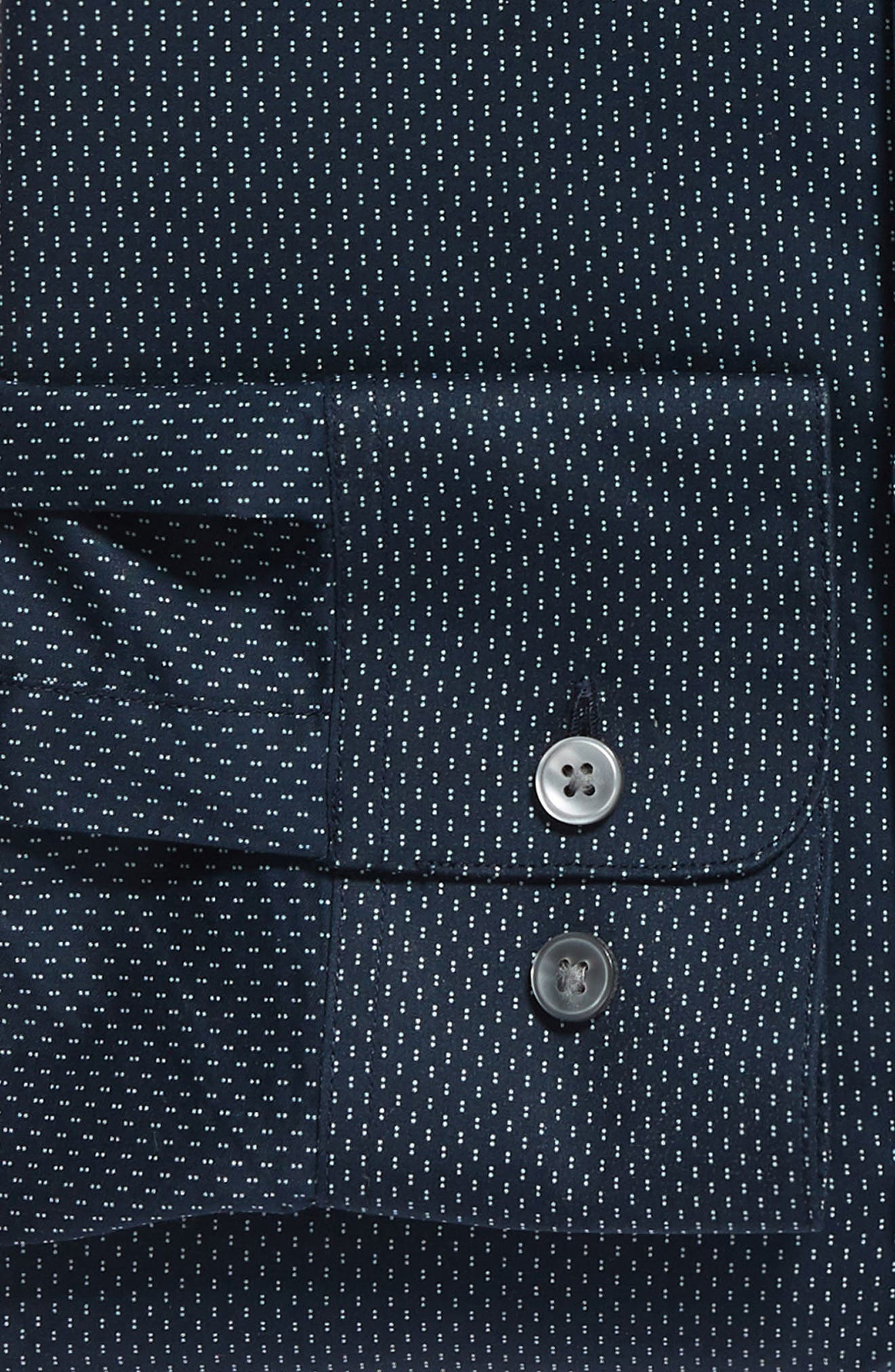 Slim Fit Dot Dress Shirt,                             Alternate thumbnail 6, color,                             INDIGO