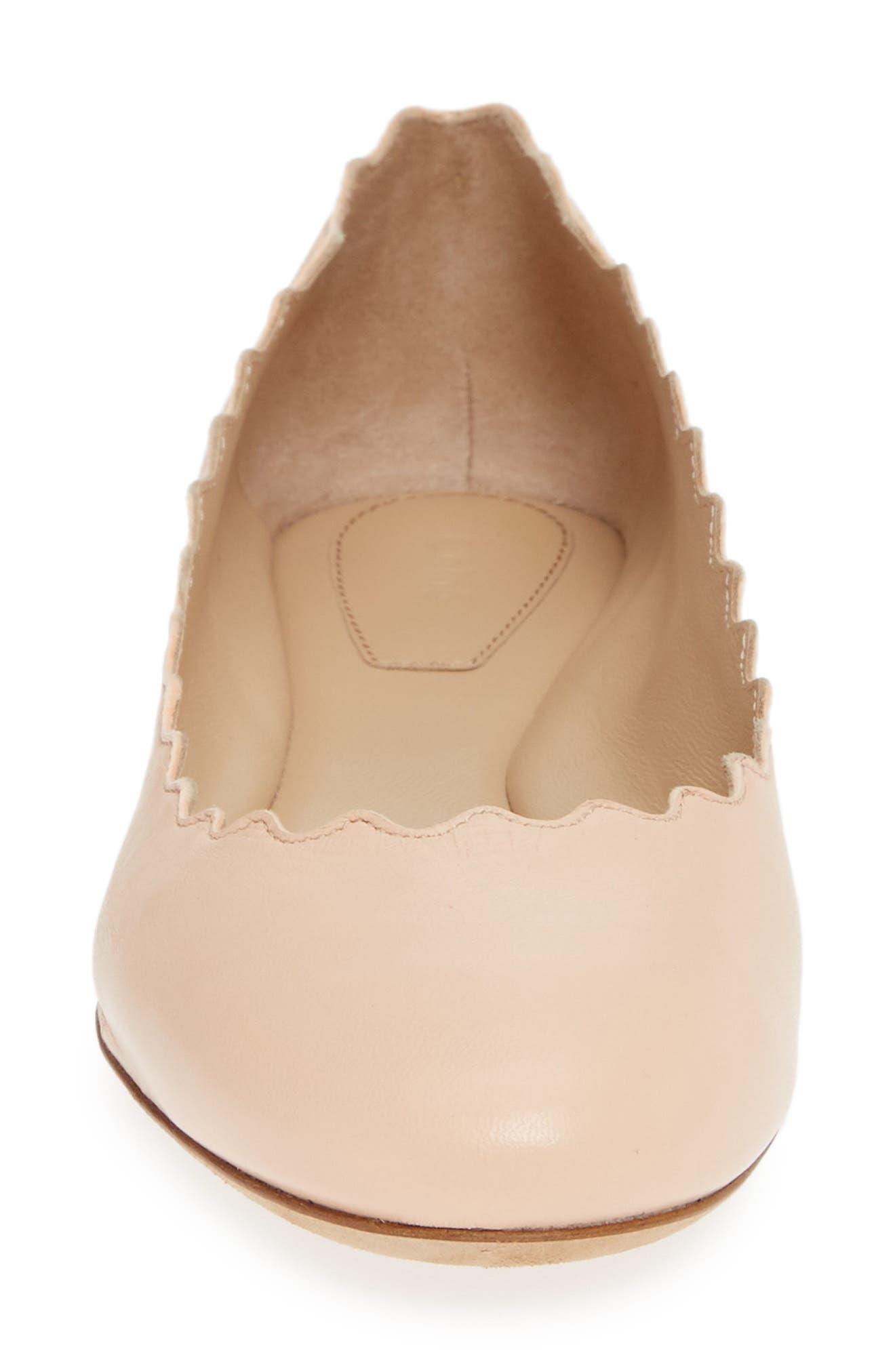'Lauren' Scalloped Ballet Flat,                             Alternate thumbnail 4, color,                             DELICATE PINK LEATHER