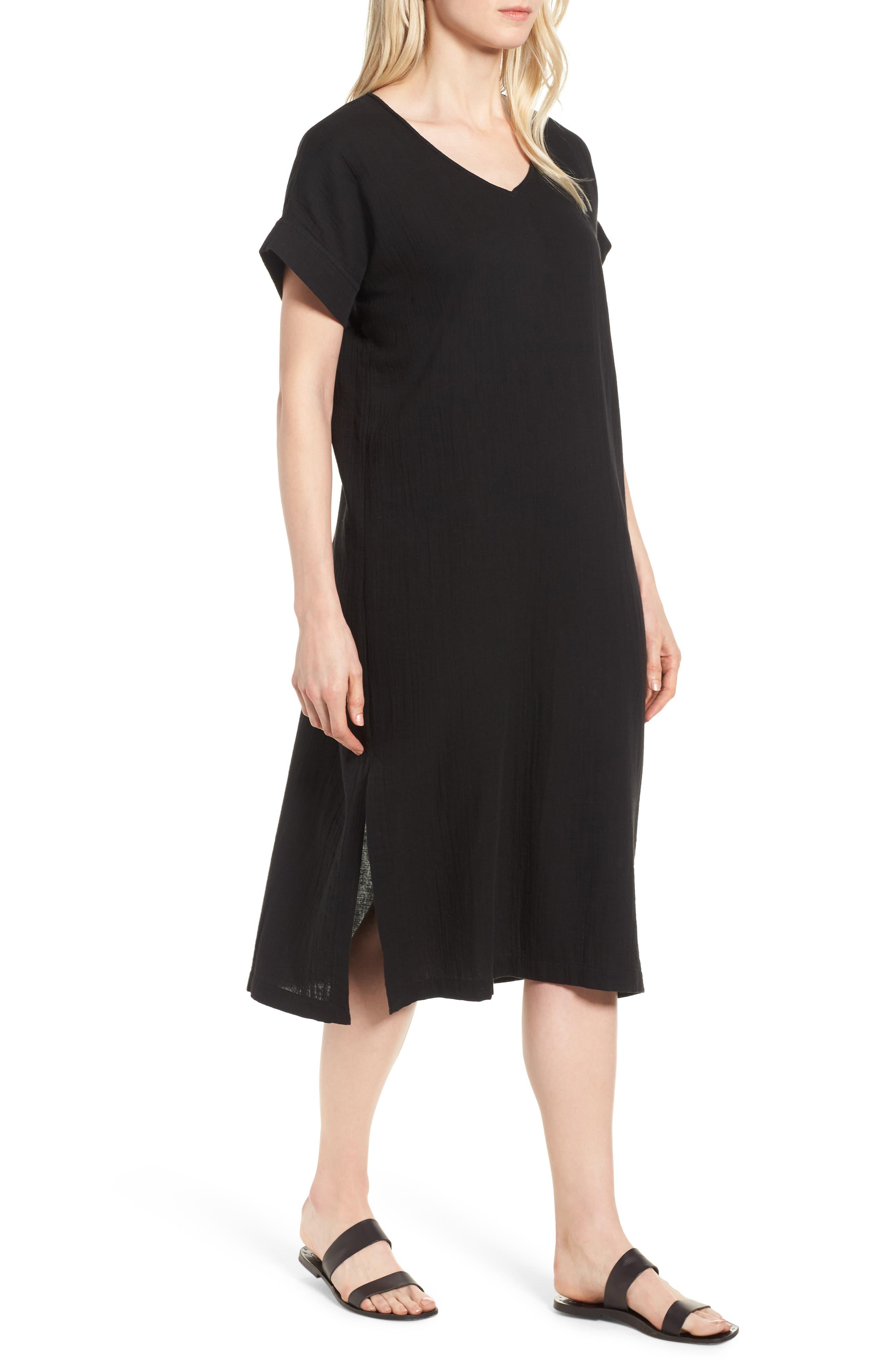 V-Neck Cotton Midi Dress,                             Main thumbnail 1, color,                             001