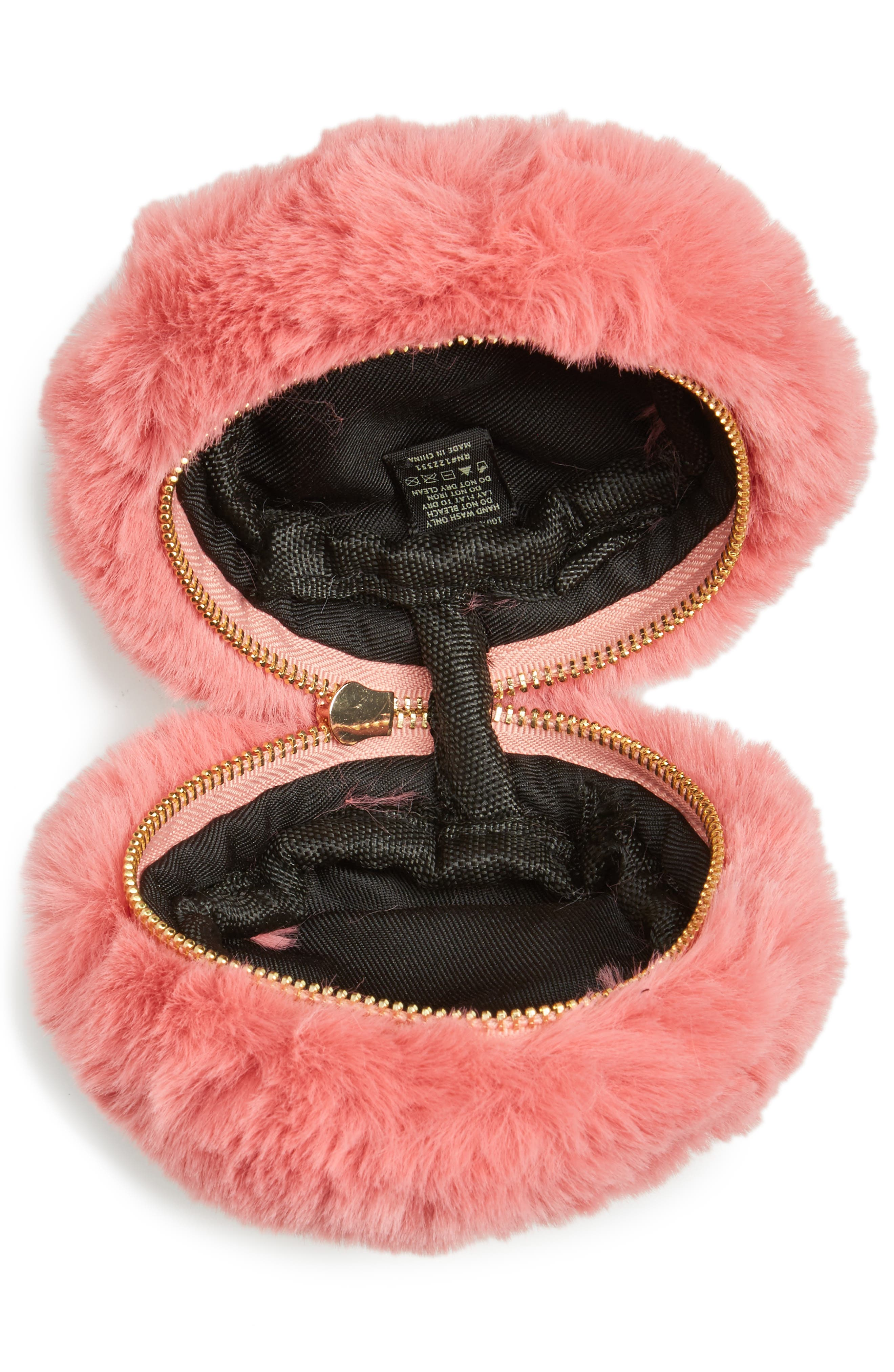 Macaron Faux Fur Wristlet,                             Alternate thumbnail 4, color,                             650