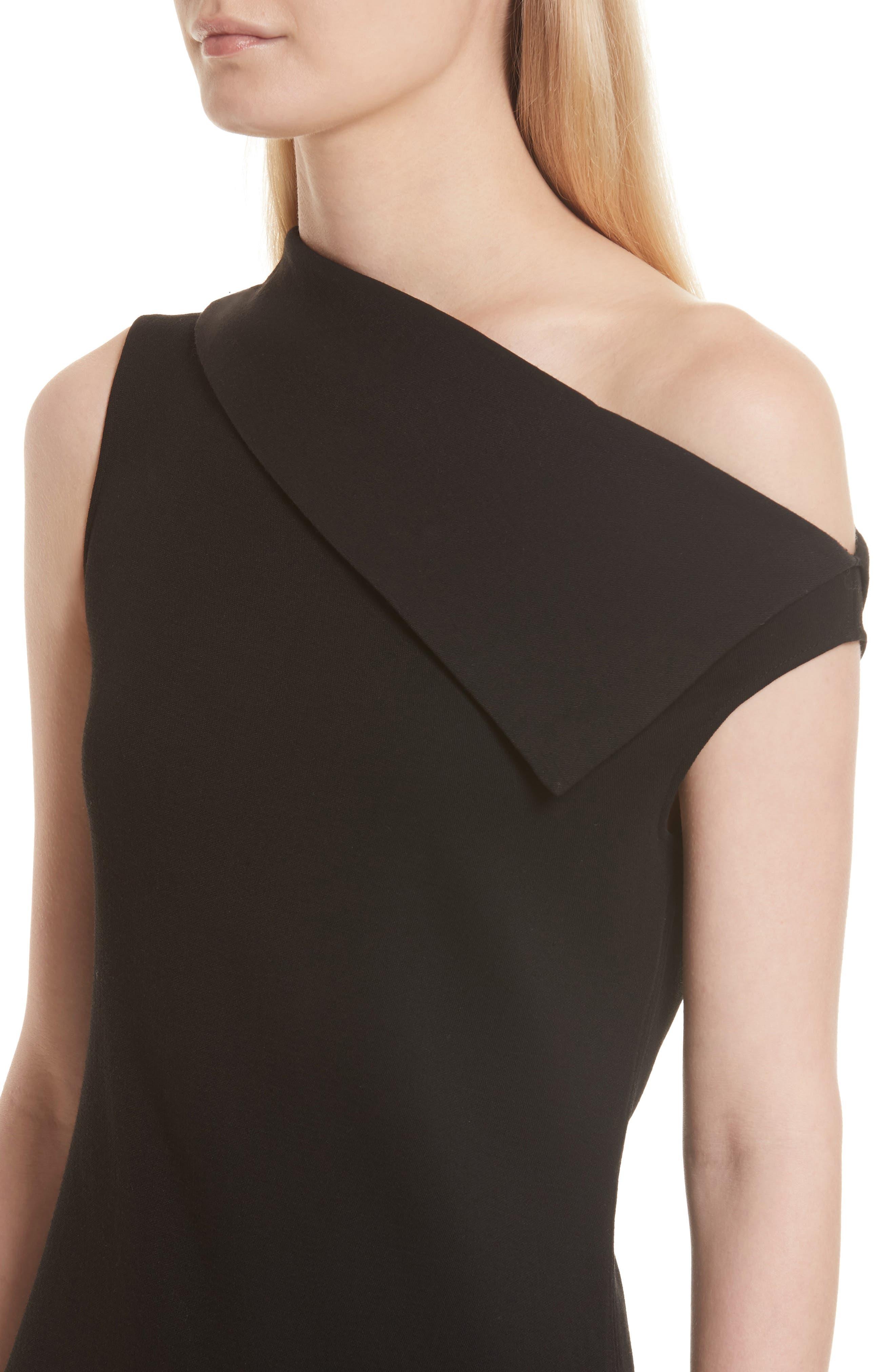 Asymmetric Wool Blend Scuba Minidress,                             Alternate thumbnail 4, color,