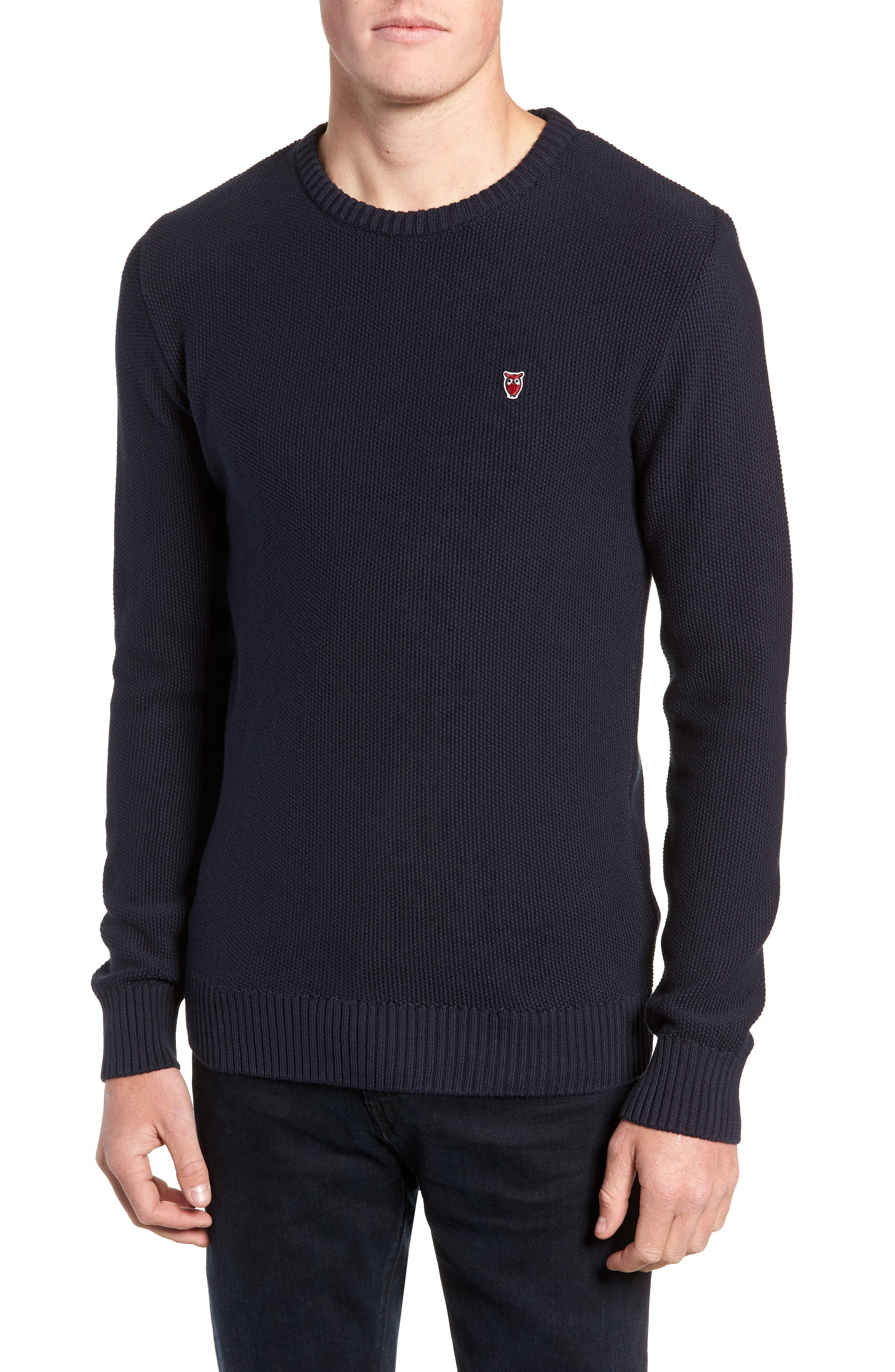 Knowledgecotton Apparel Owl Textured Sweater, Blue