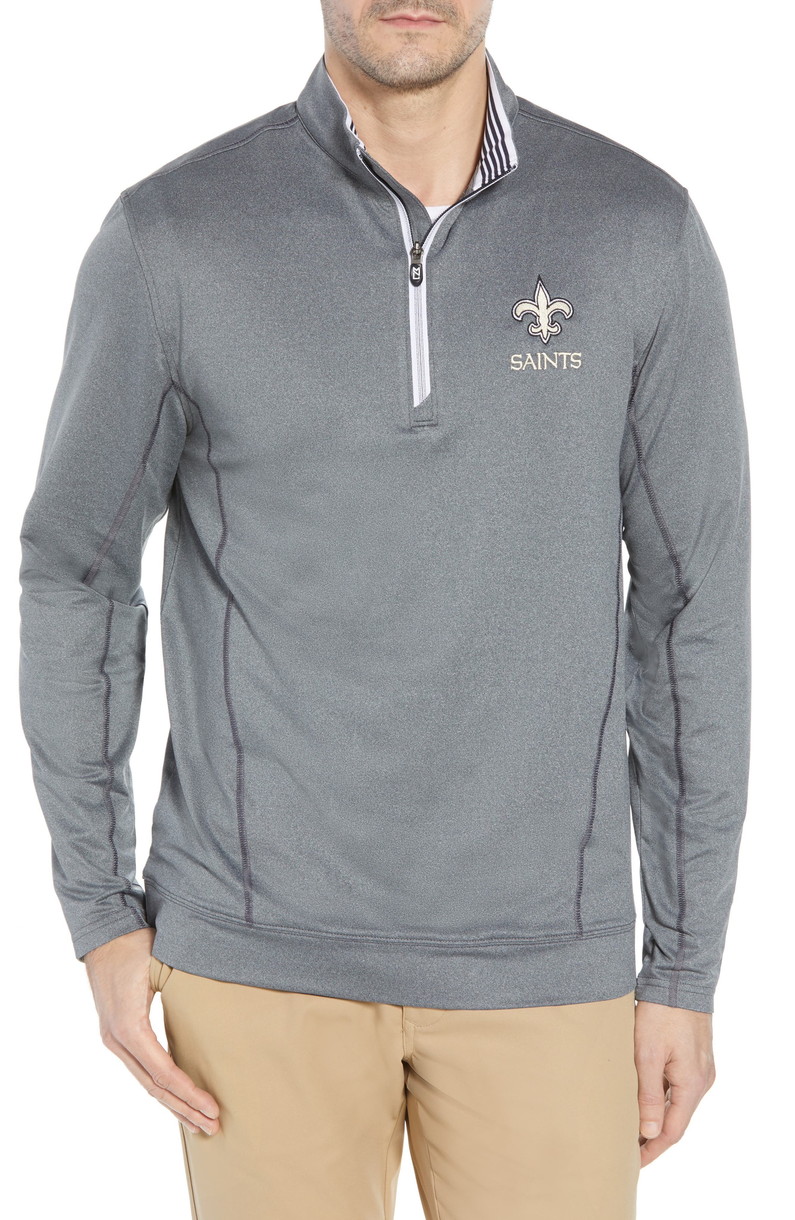 Endurance New Orleans Saints Regular Fit Pullover,                             Main thumbnail 1, color,                             CHARCOAL HEATHER
