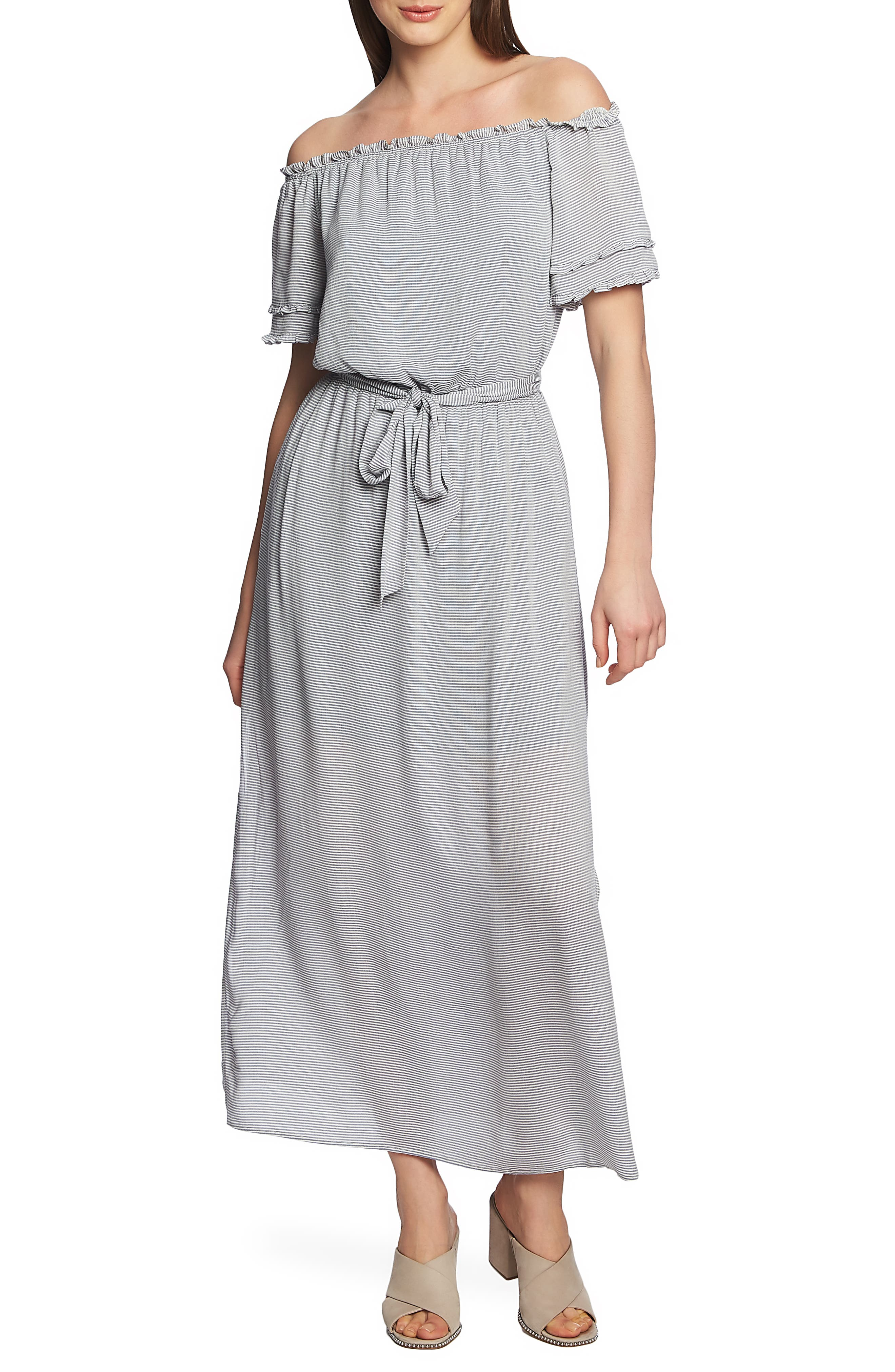 1.state Off The Shoulder Pinstripe Maxi Dress, Blue