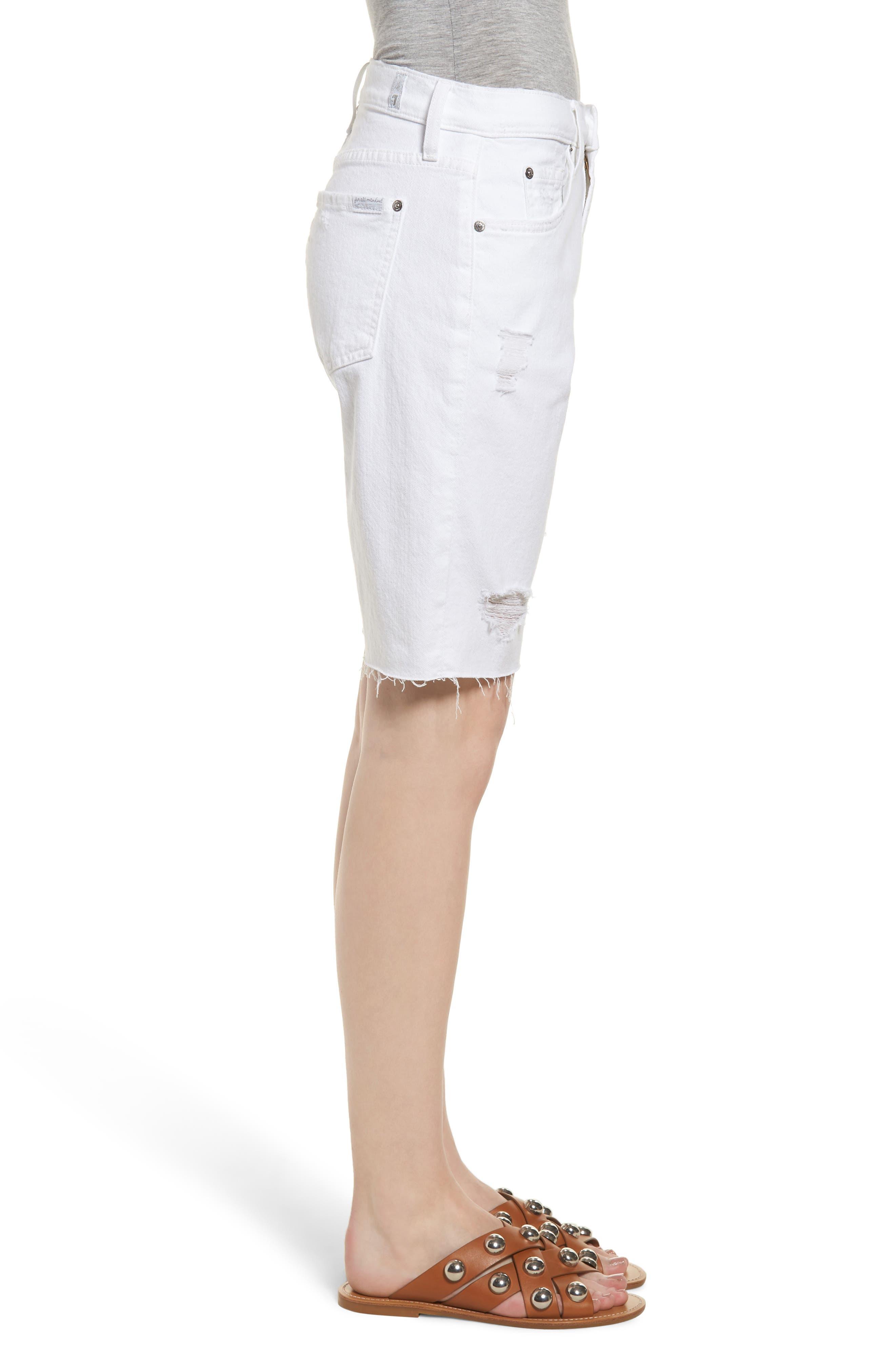 Distressed High Waist Straight Leg Bermuda Shorts,                             Alternate thumbnail 3, color,                             102