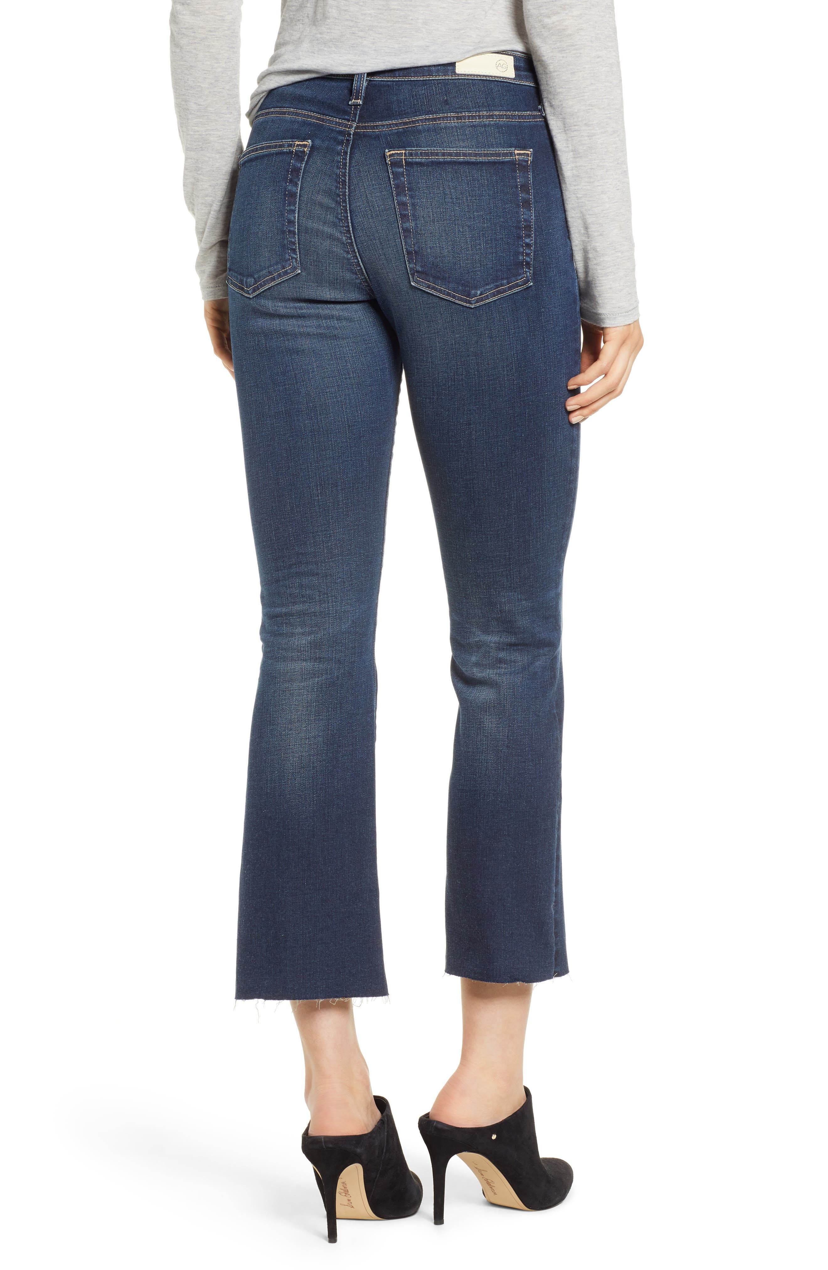 Jodi Raw Hem Crop Flare Jeans,                             Alternate thumbnail 2, color,                             10Y PURSUED