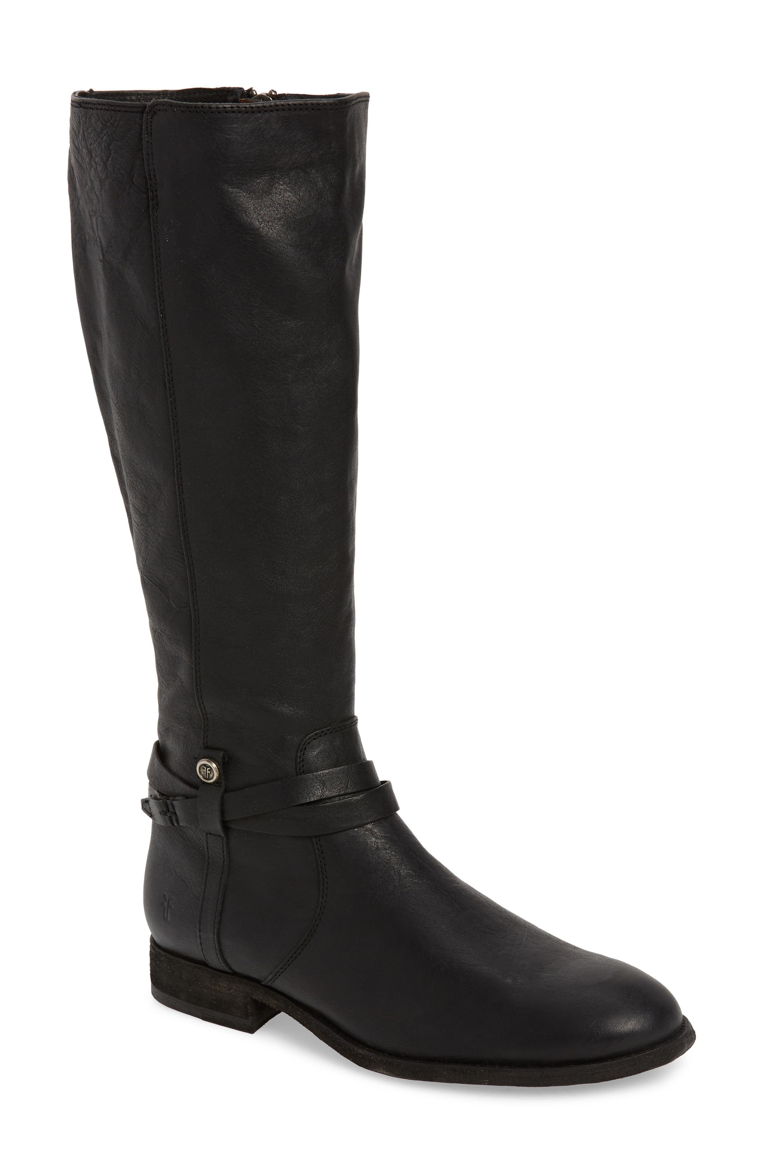 Frye Melissa Belted Knee-High Riding Boot, Ext Calf- Black