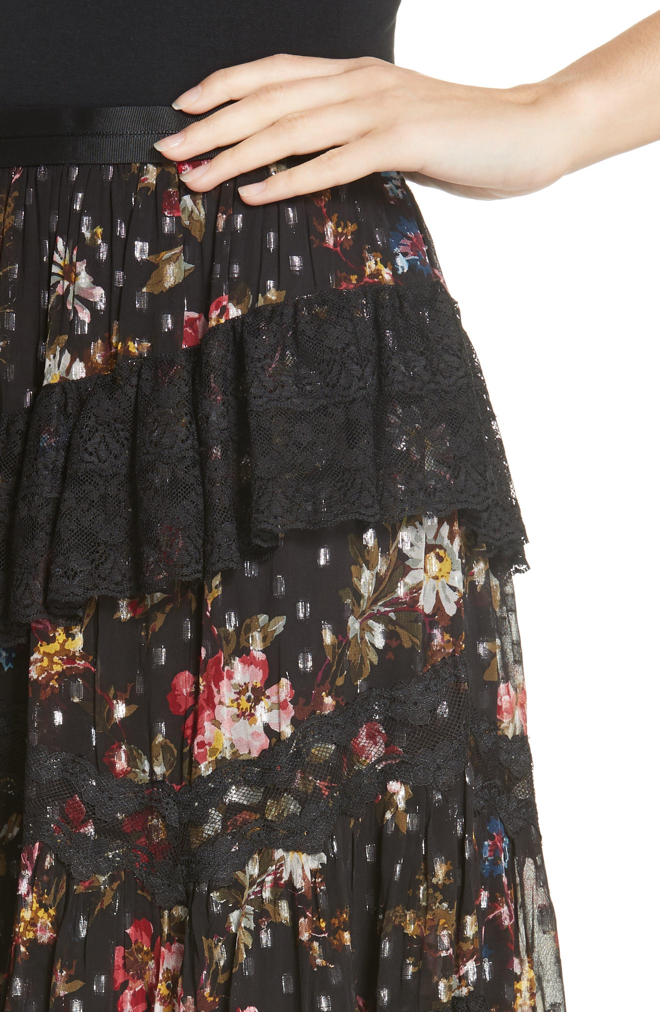 Cosmic Forest Skirt,                             Alternate thumbnail 4, color,                             GRAPHITE