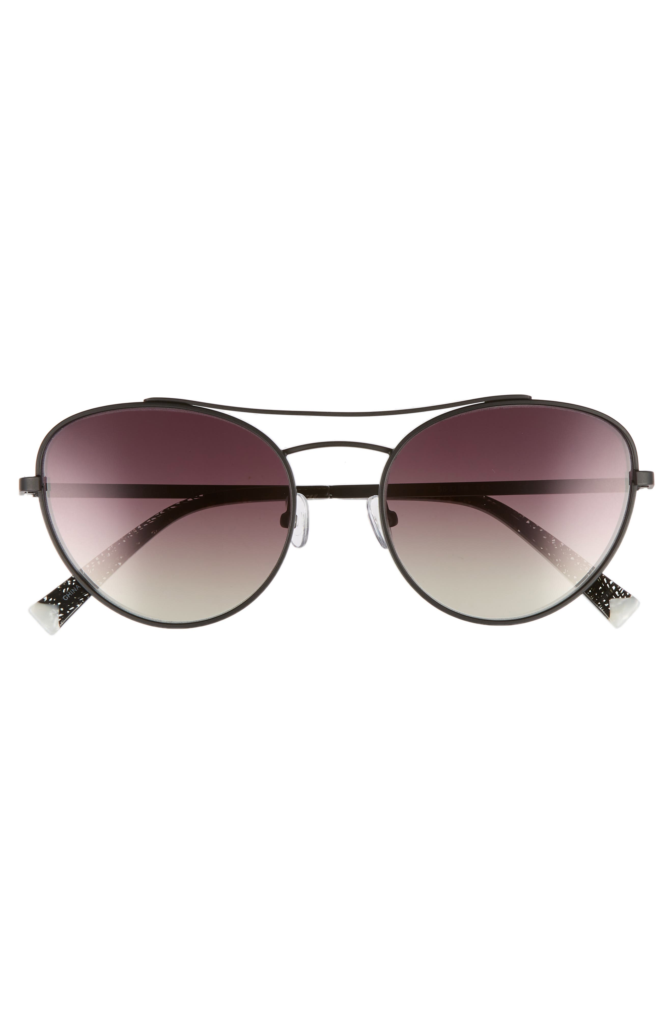 Yasmin 55mm Aviator Sunglasses,                             Alternate thumbnail 3, color,                             BLACK/ BROWN/ GOLD GRADIENT