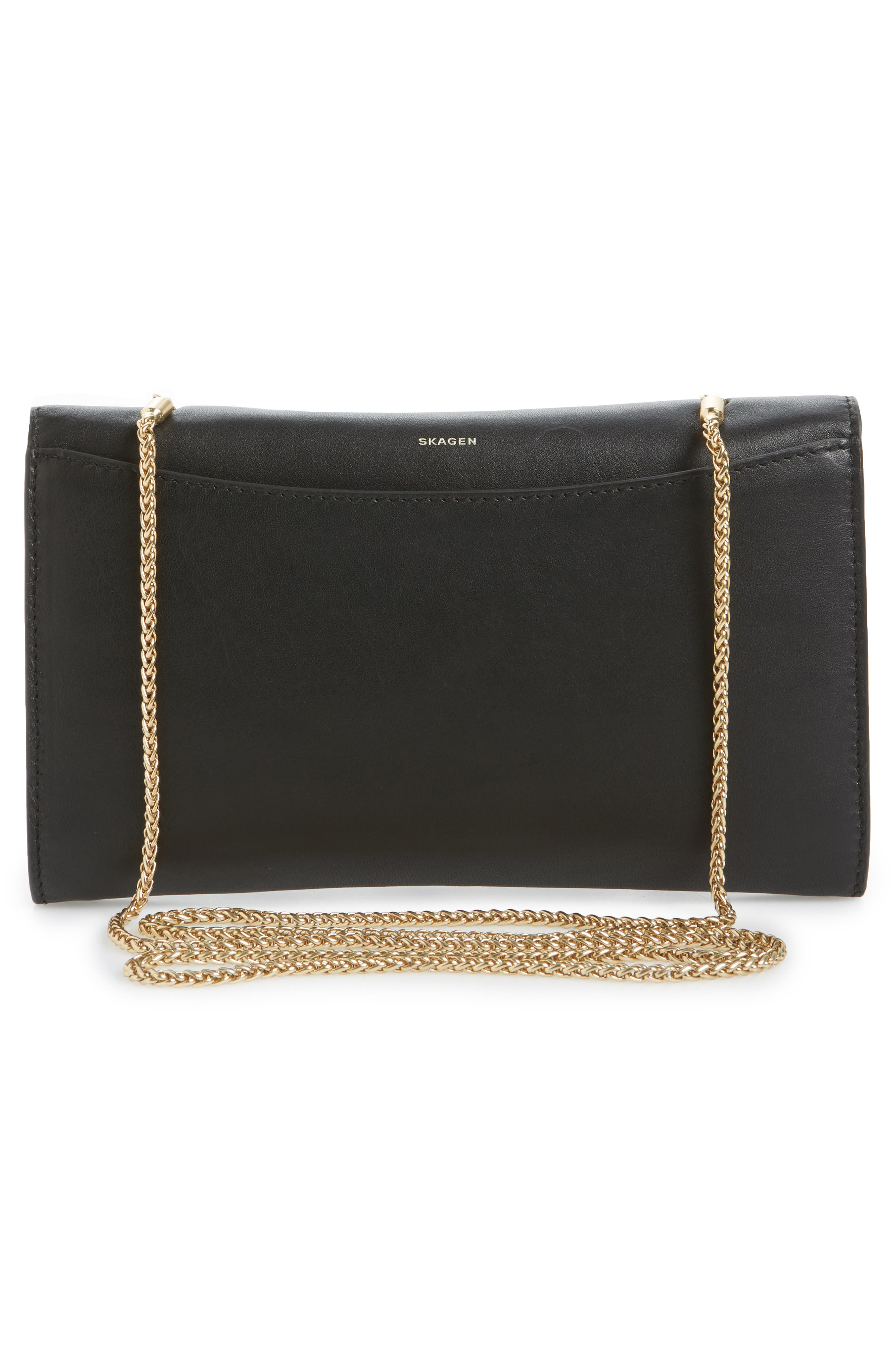 Eryka Leather Envelope Clutch with Detachable Chain,                             Alternate thumbnail 3, color,                             001