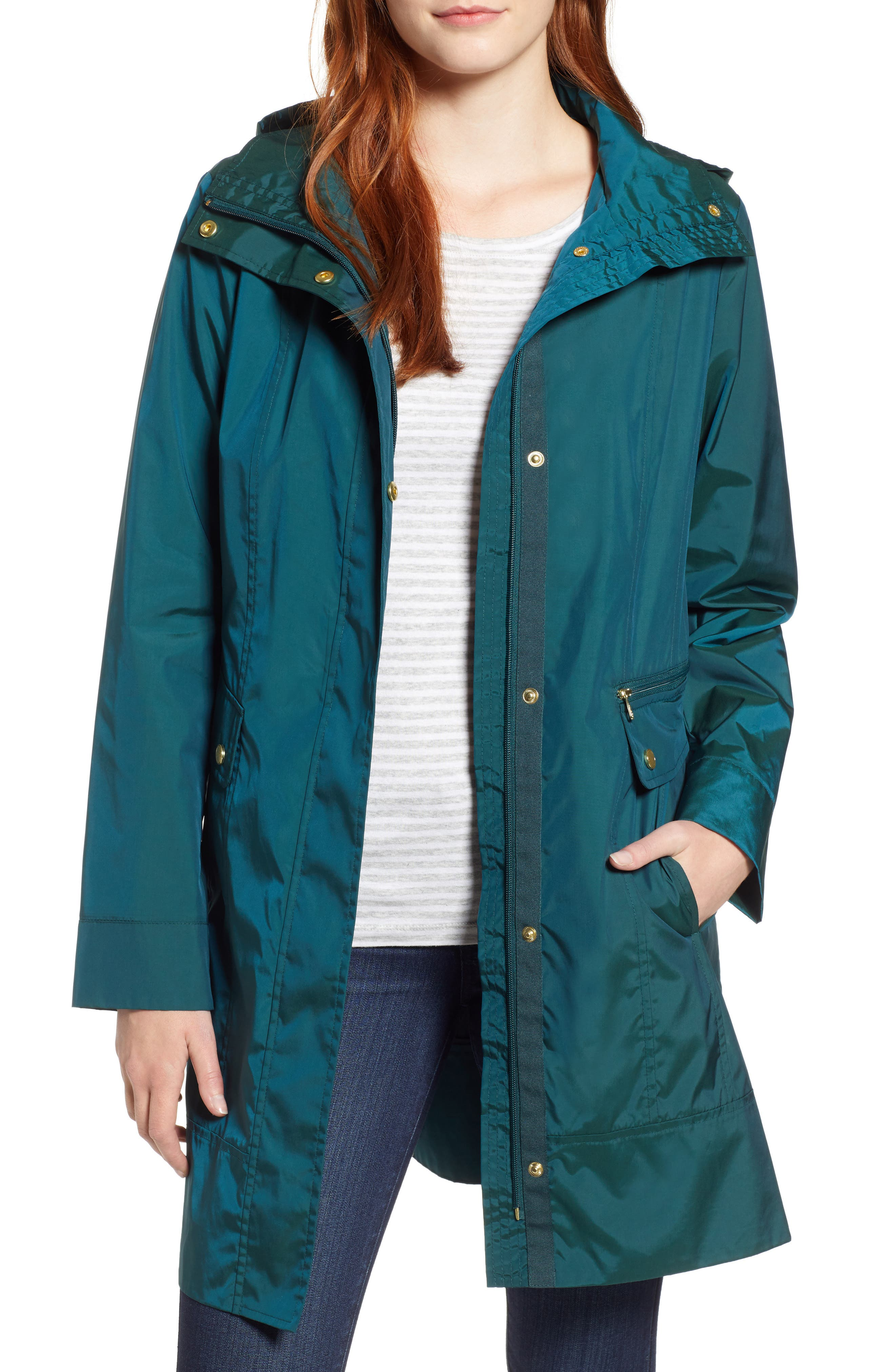 Cole Haan Signature Back Bow Packable Hooded Raincoat, Green