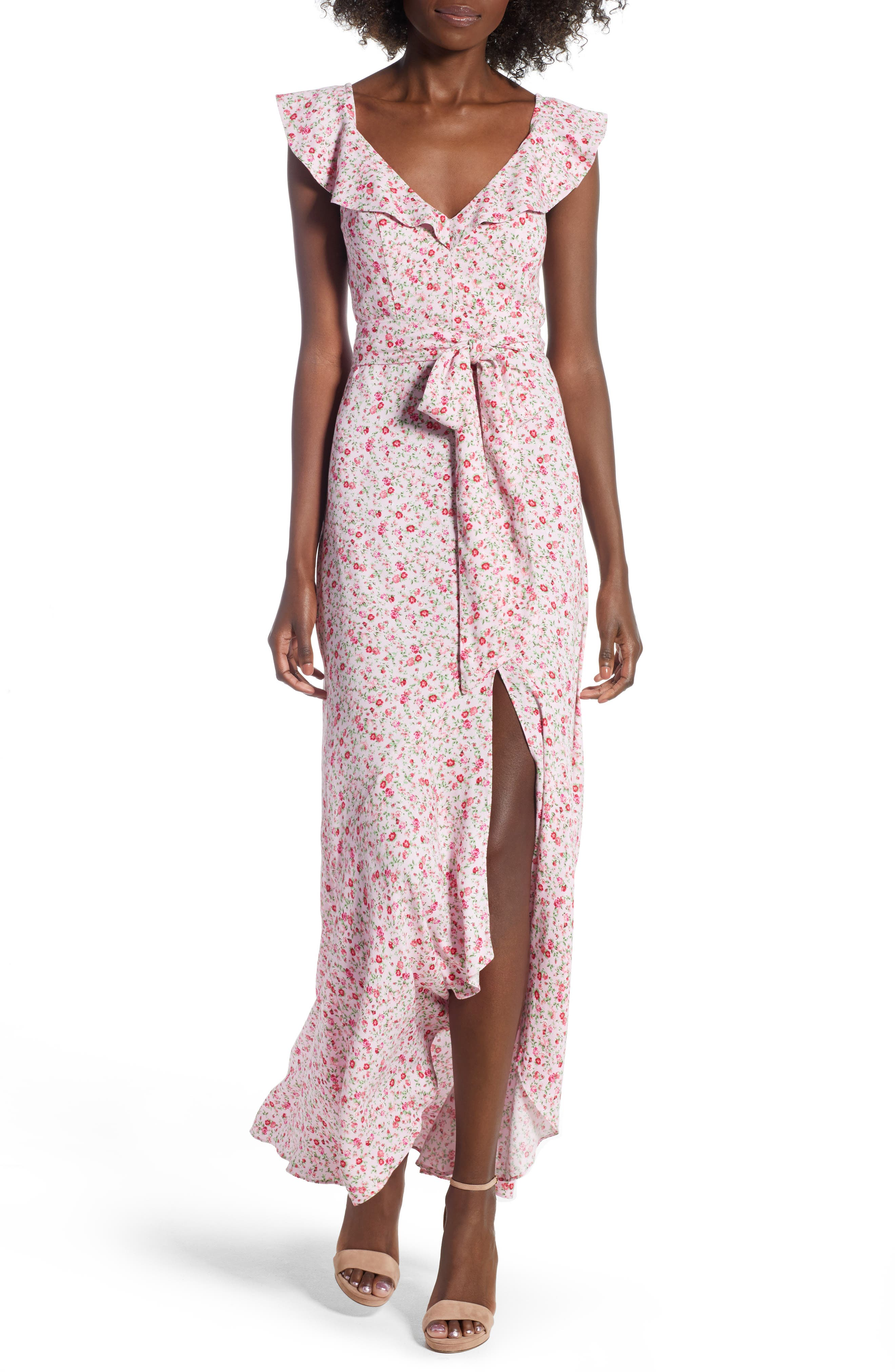 Lucie Maxi Dress,                         Main,                         color, BABY PINK DITSY