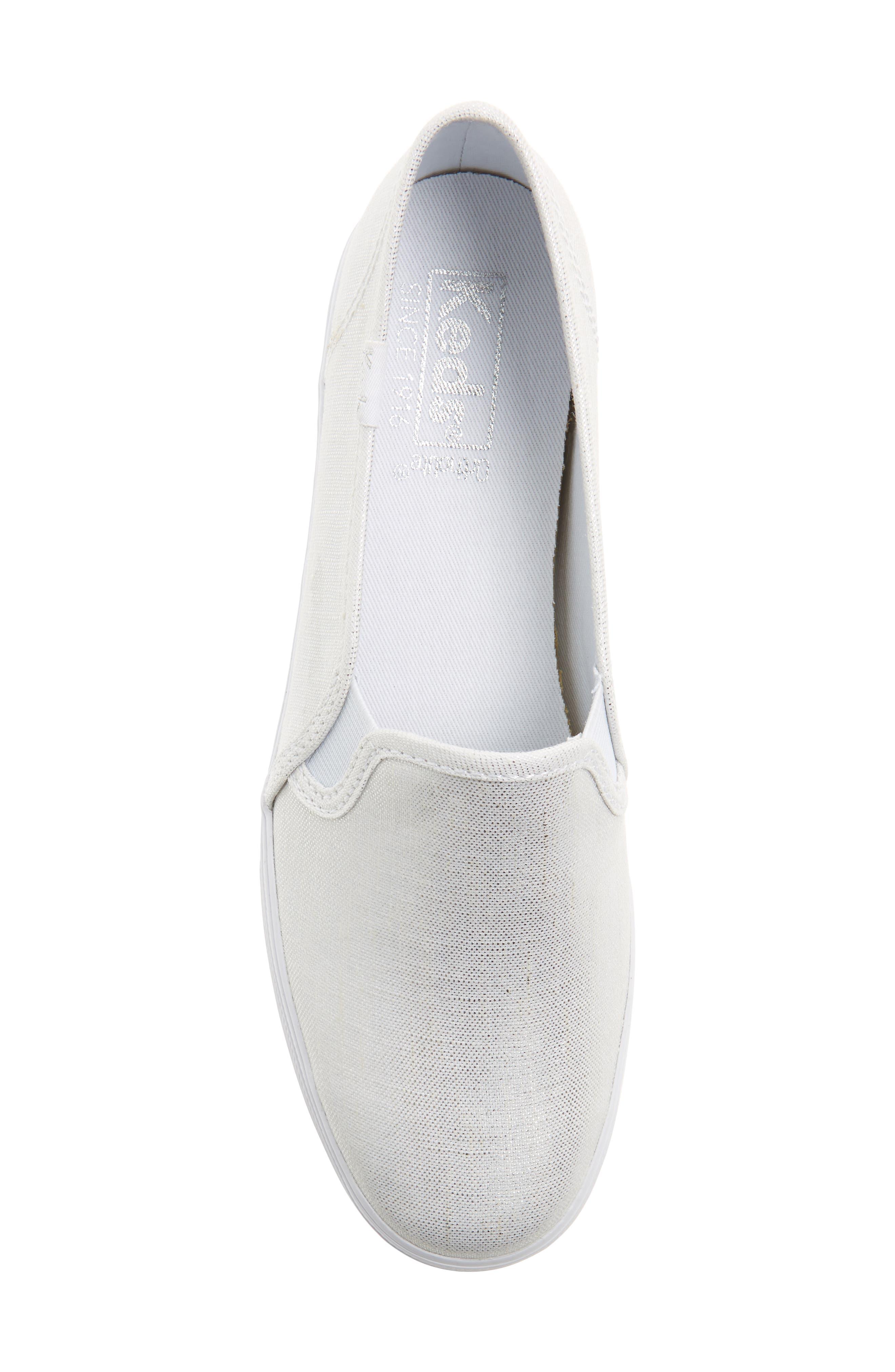 Triple Decker Metallic Linen Slip-On Sneaker,                             Alternate thumbnail 9, color,