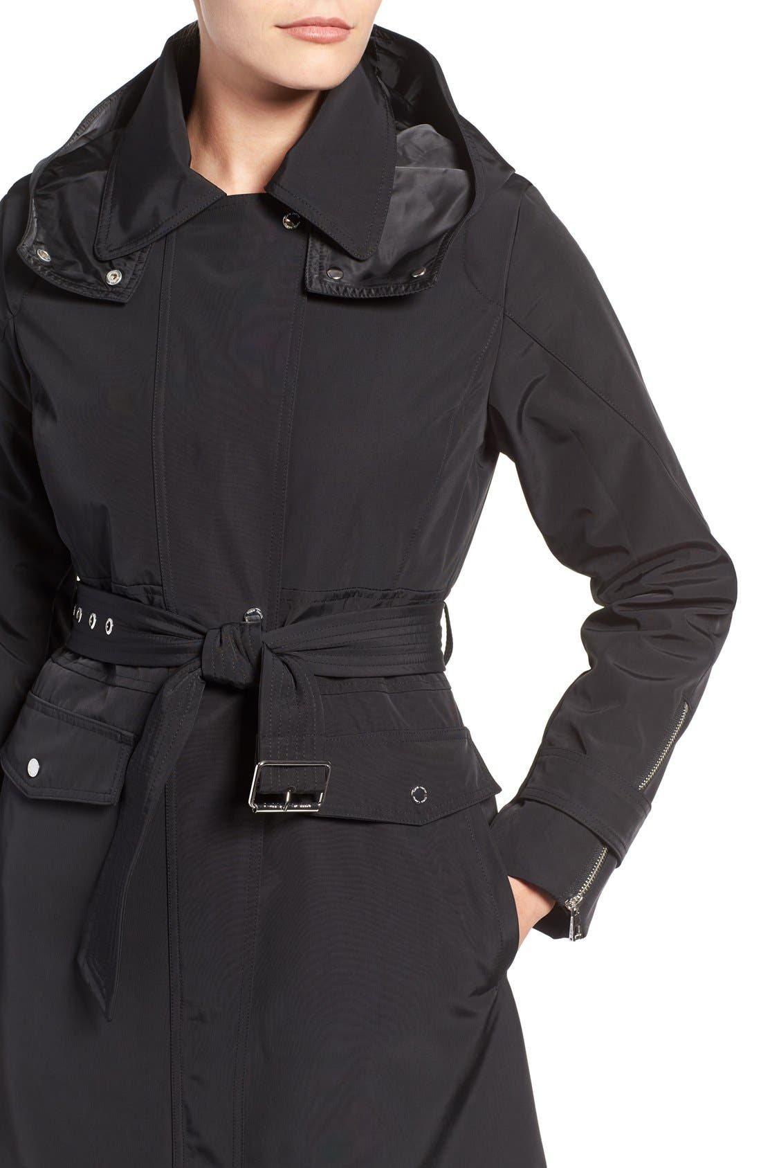 Hooded Trench Coat,                             Alternate thumbnail 4, color,                             001