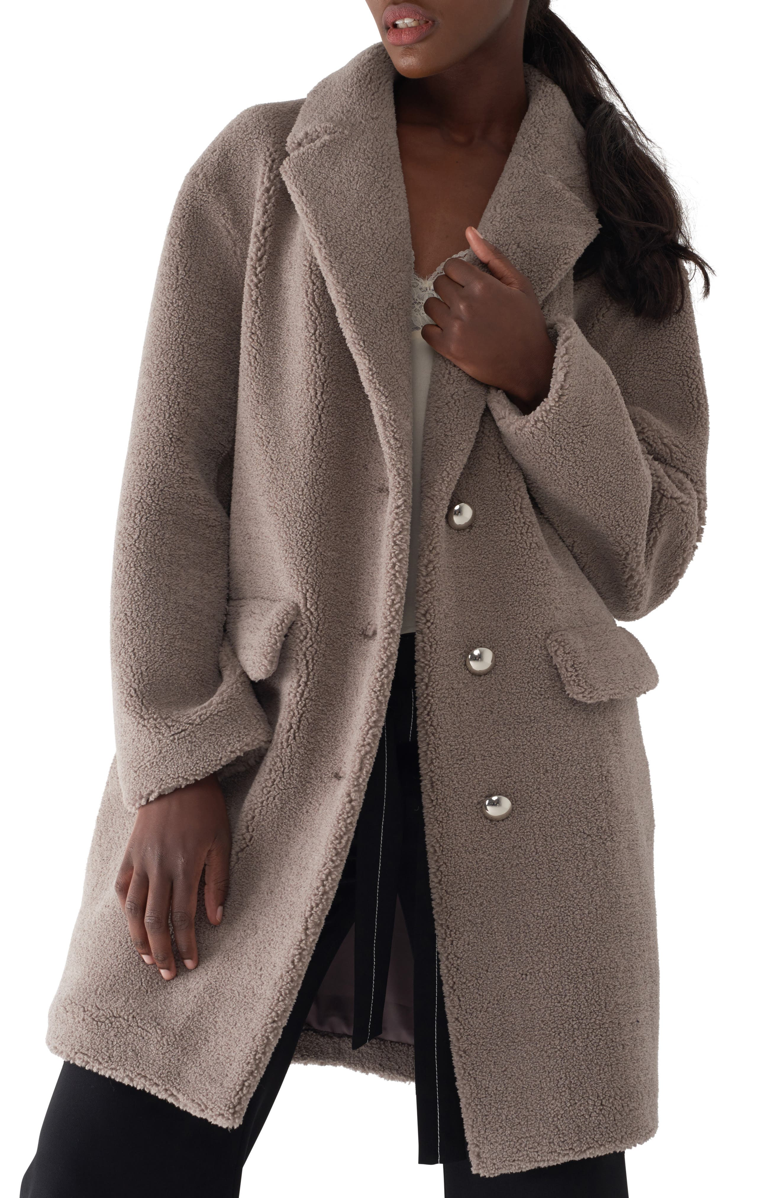 Gita Teddy Coat,                         Main,                         color, TAUPE