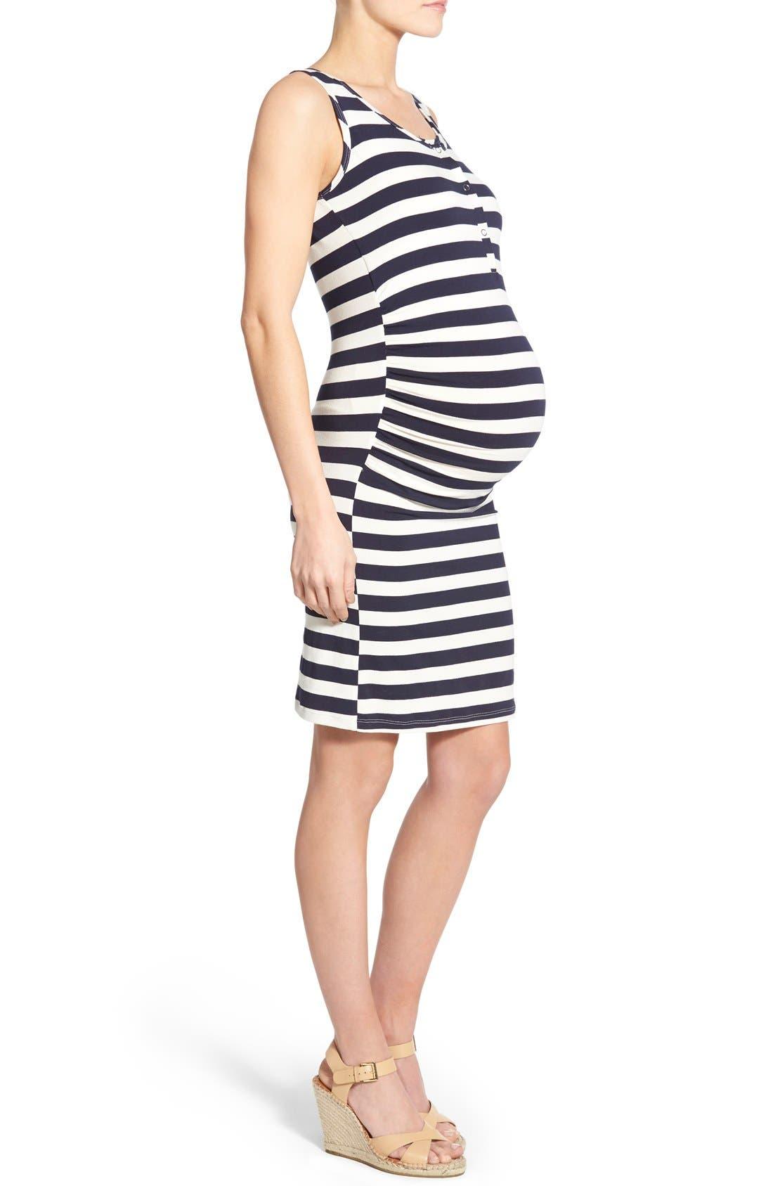 'Joy' Sleeveless Maternity/Nursing Midi Dress,                             Alternate thumbnail 3, color,                             EVEN NAVY STRIPE