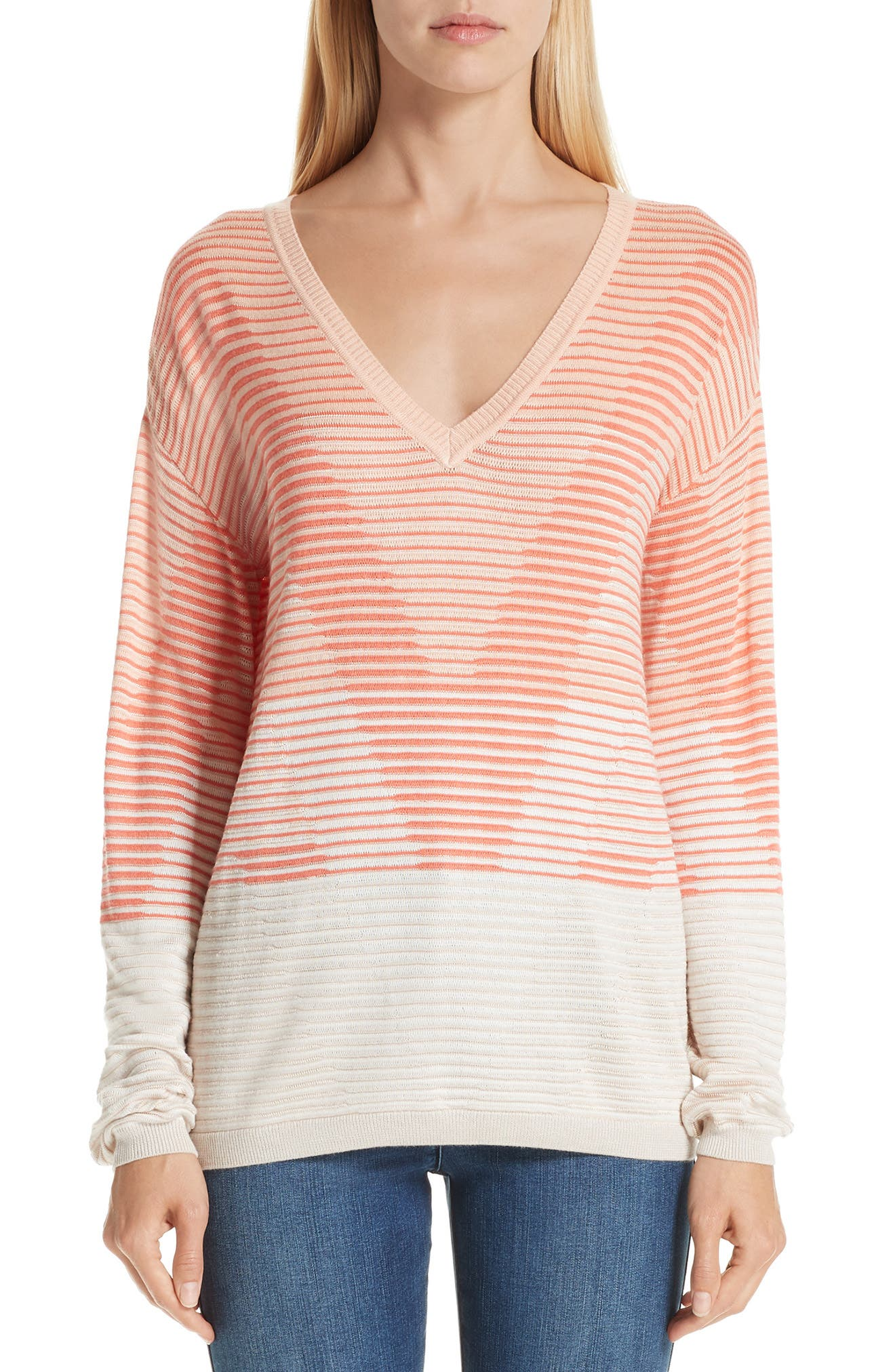 Degradé Matte Shine Drop Needle Knit V-Neck Sweater in Peach/ Cream