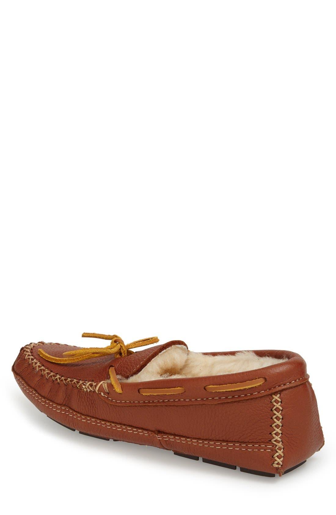 Genuine Shearling Lined Leather Slipper,                             Alternate thumbnail 2, color,                             CARMEL
