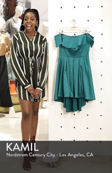Off the Shoulder Satin High/Low Cocktail Dress, sales video thumbnail