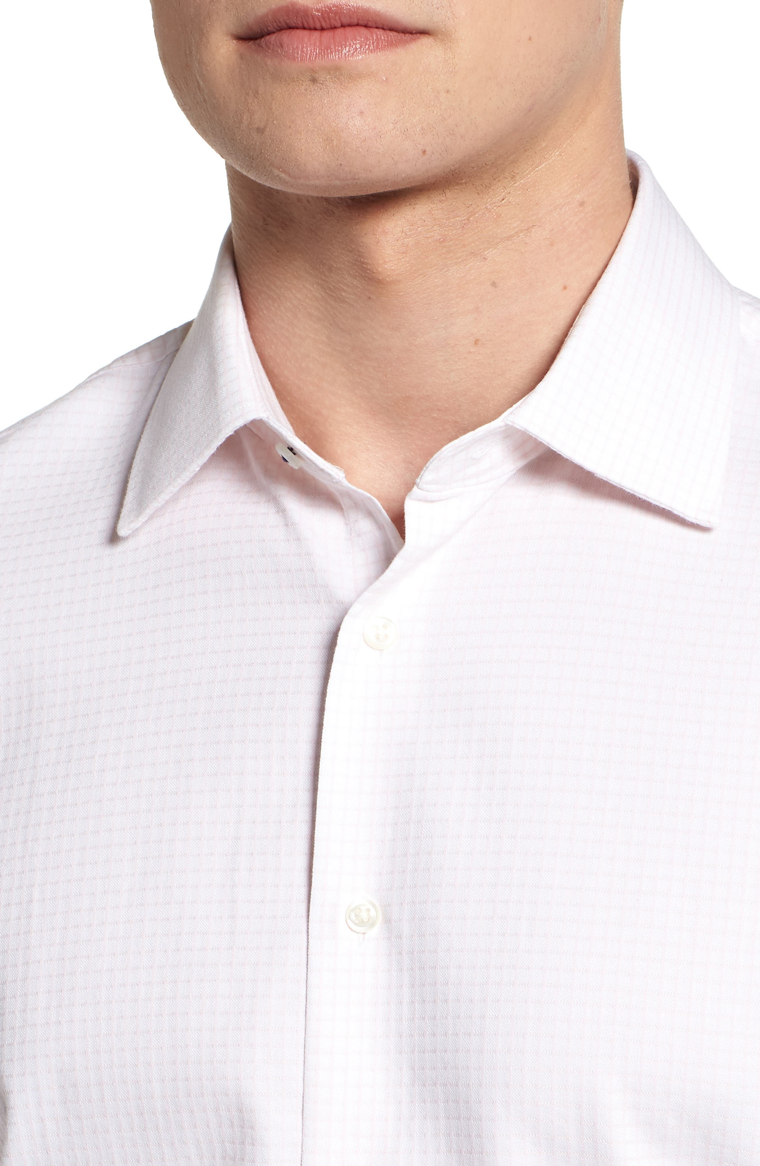 Tech-Smart Traditional Fit Stretch Tattersall Dress Shirt,                             Alternate thumbnail 4, color,