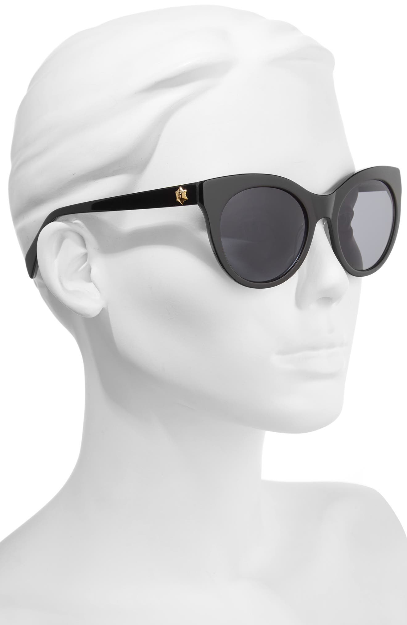 52mm Round Cat Eye Sunglasses,                             Alternate thumbnail 2, color,                             001