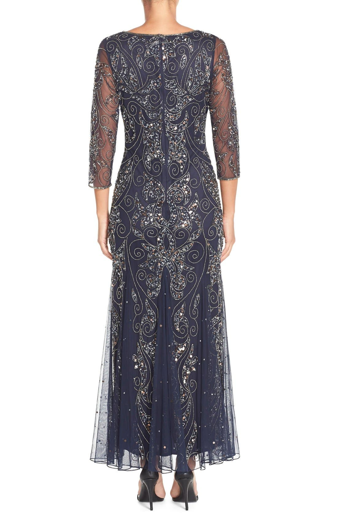 Embellished Mesh Gown,                             Alternate thumbnail 2, color,                             NAVY