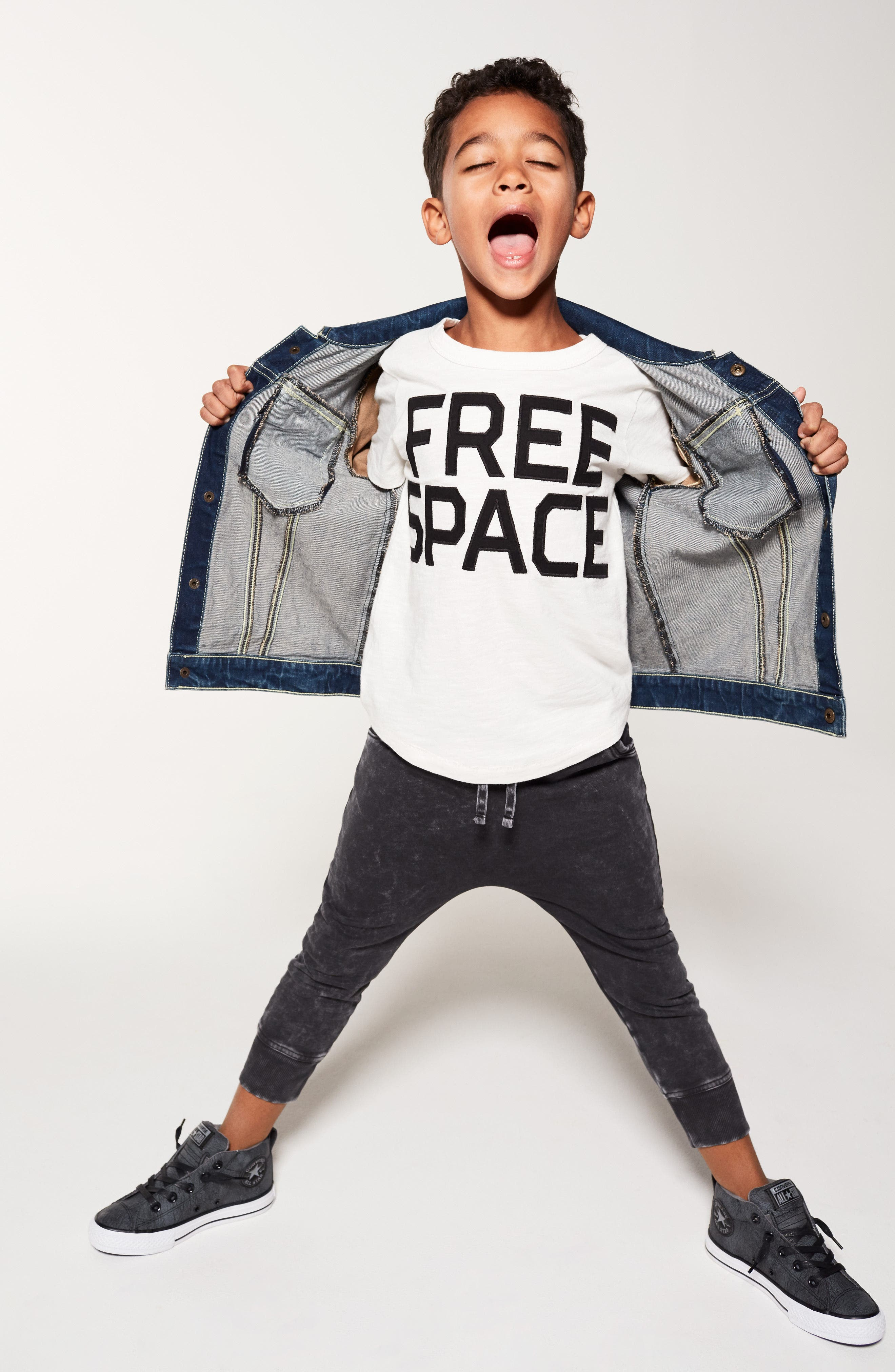 Free Space Appliqué T-Shirt,                             Alternate thumbnail 5, color,                             WHITE A OK